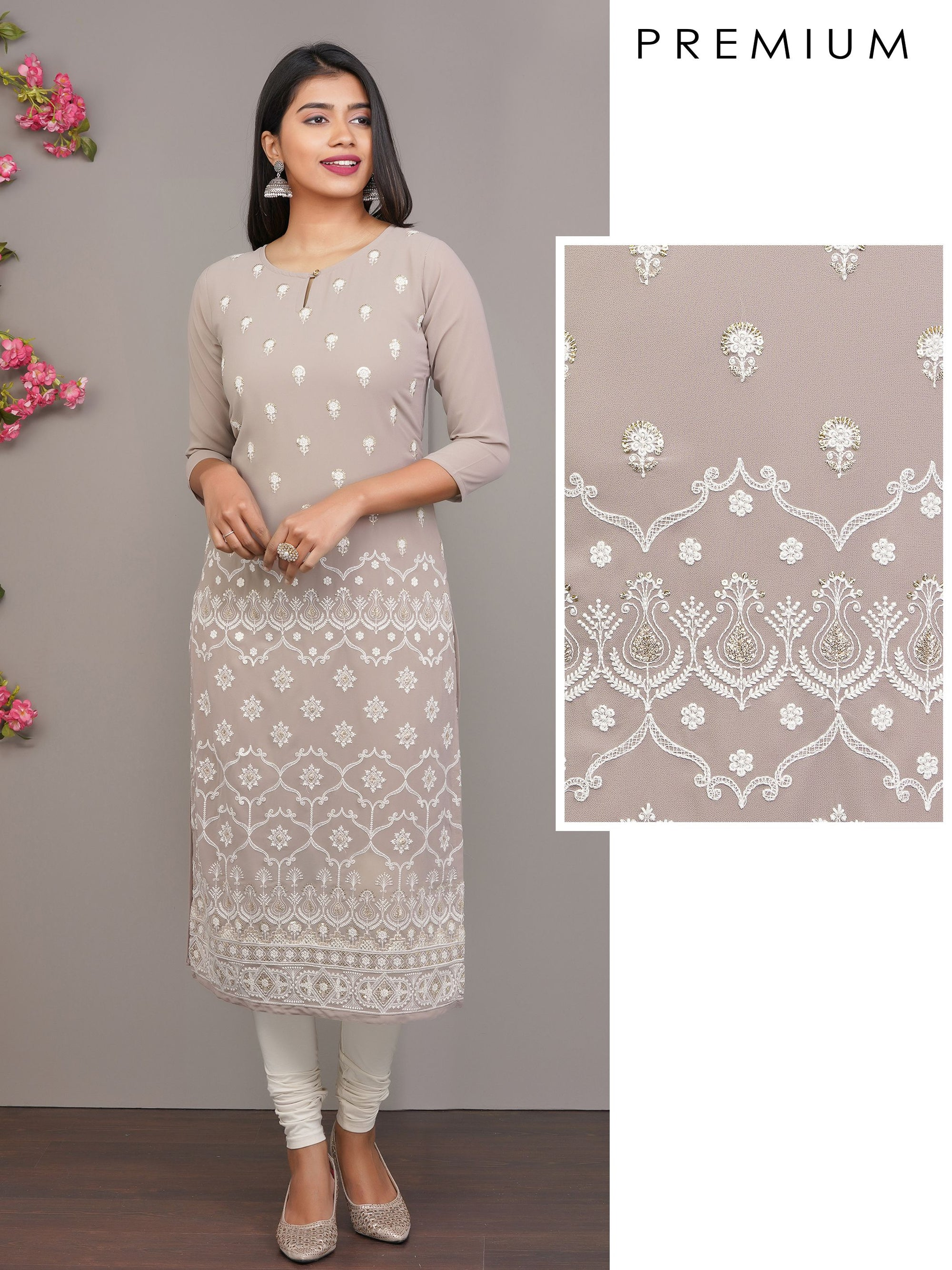 Sequins & Intense Floral Embroidered Premium Kurti