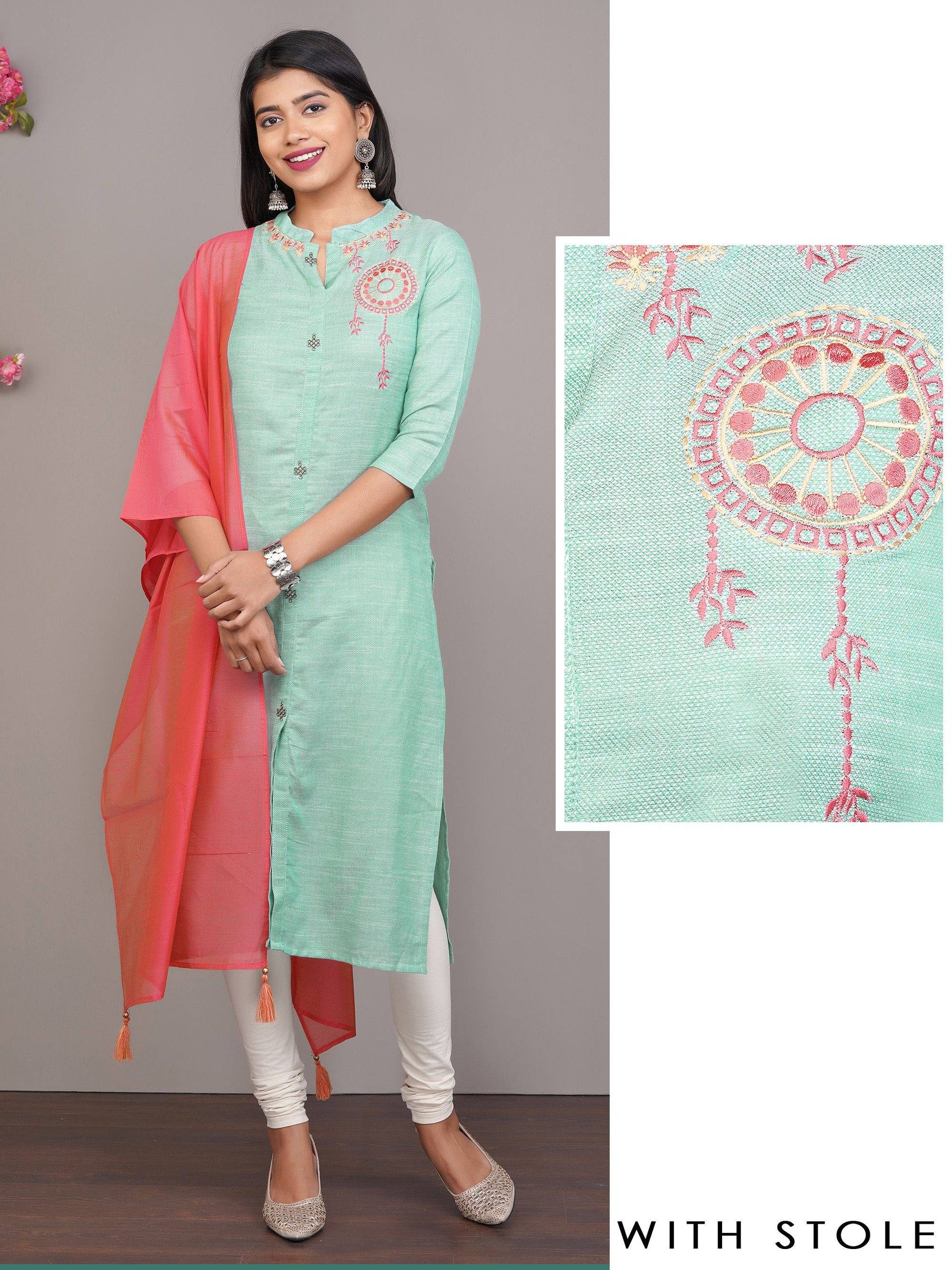 Woven Kurti with Embroidery & Dupatta