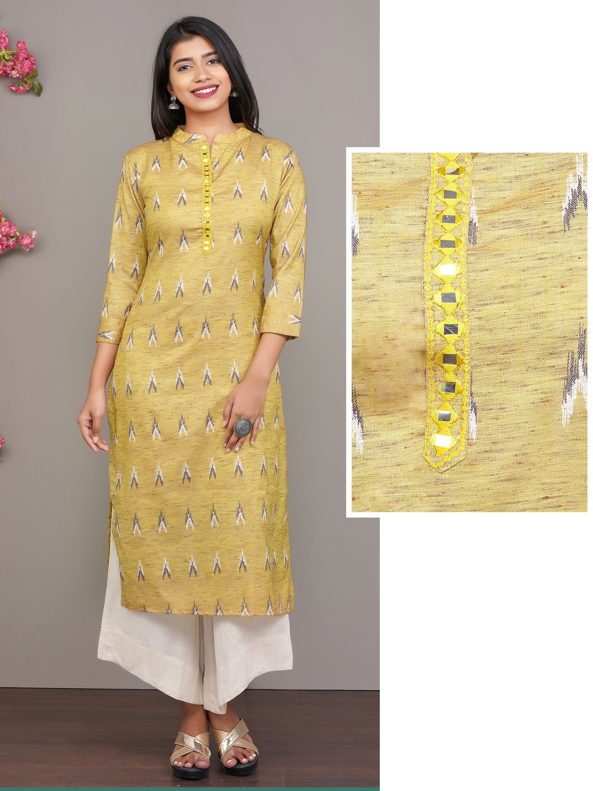 Ikkat Printed Kurti with Mirror Embroidery