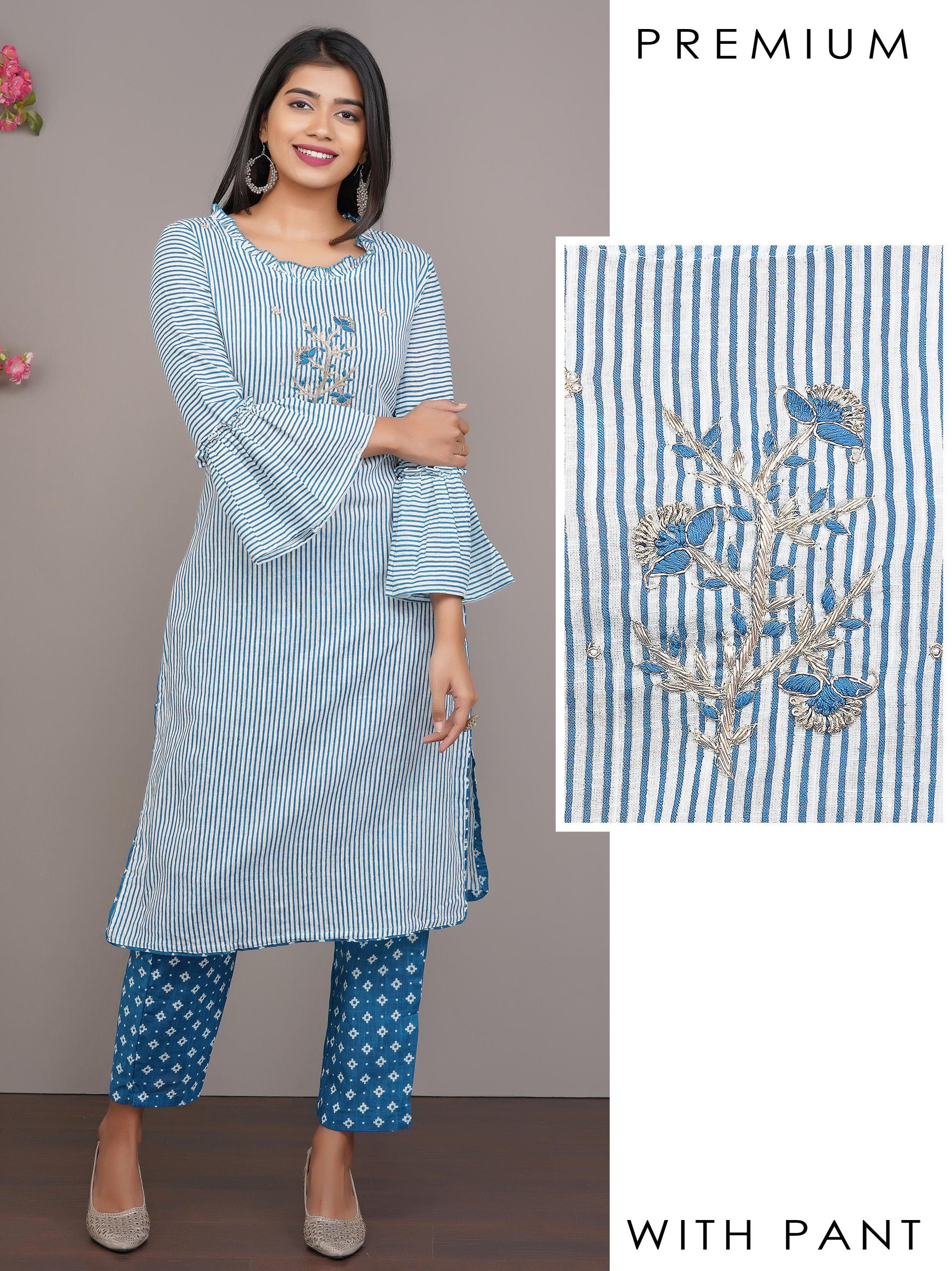 Striped Printed Kurti with Floral Embroidery & Printed Pant – Blue