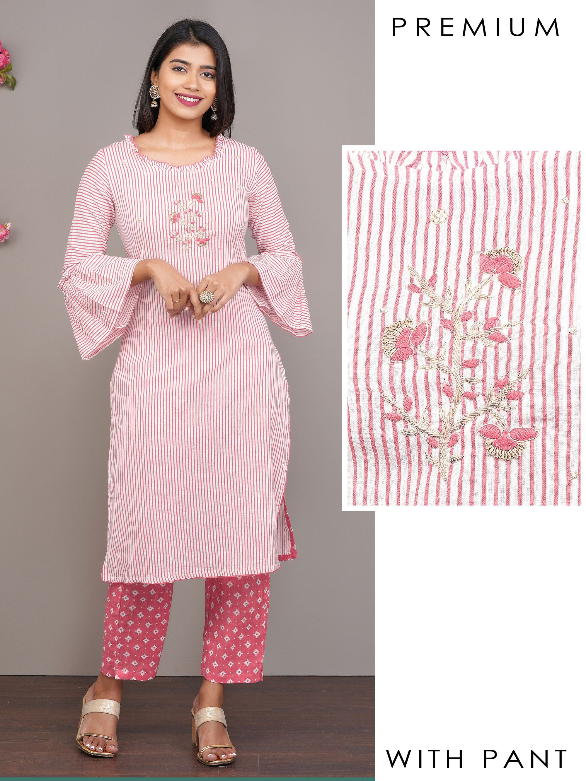 Striped Printed Kurti with Floral Embroidery & Printed Pant – Pink