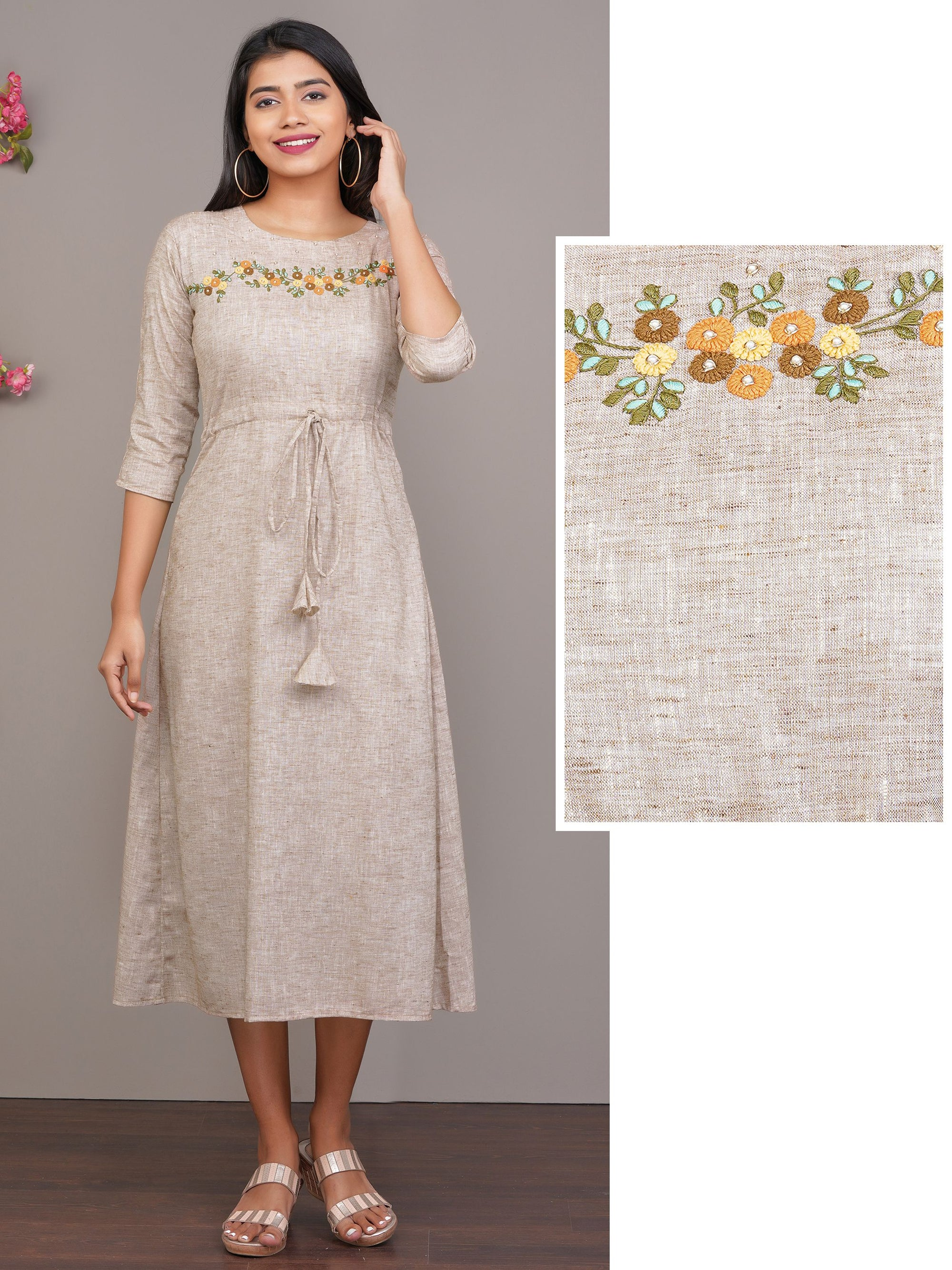 Minimal Beaded & Floral Embroidered Kurti