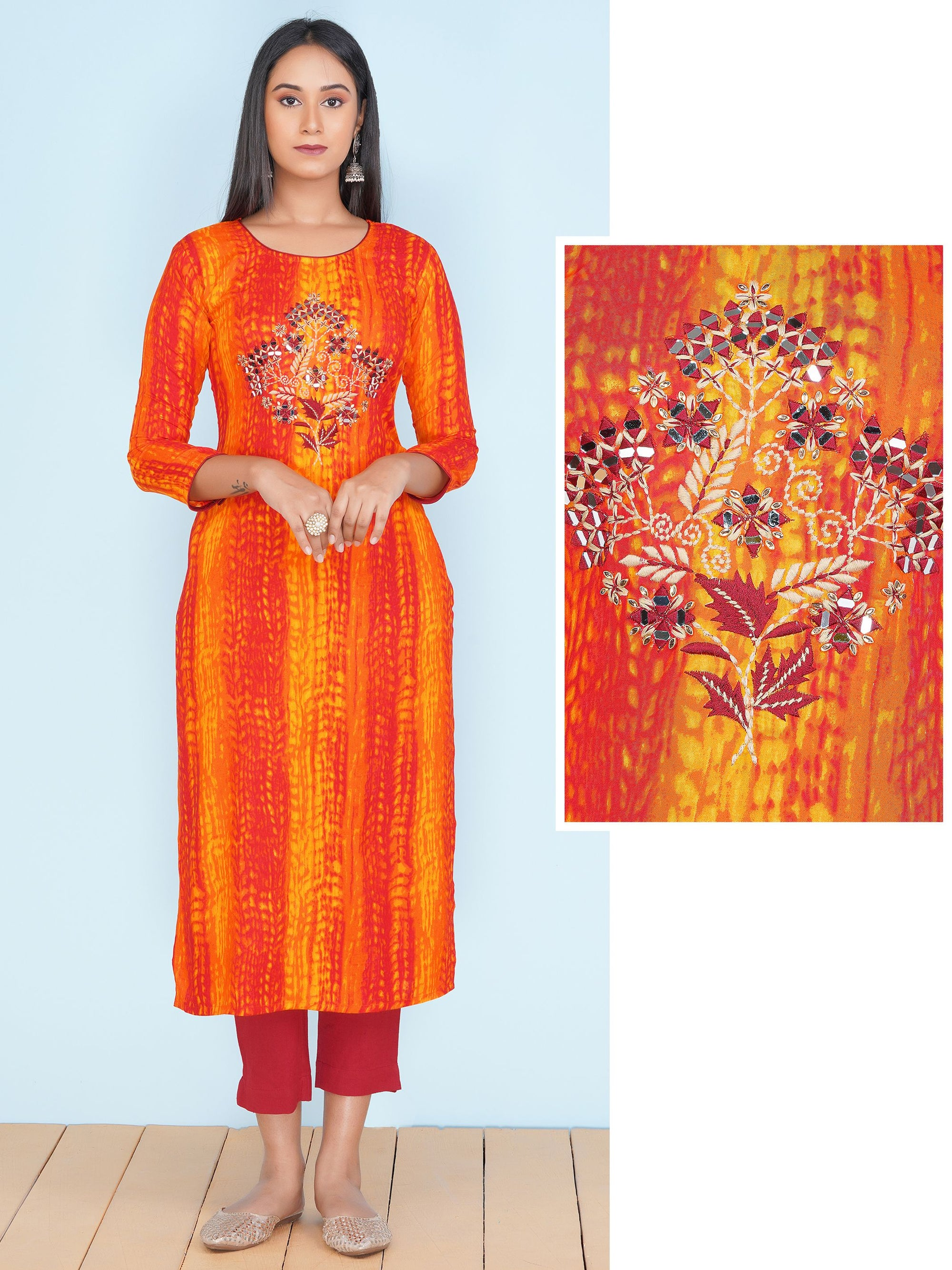 Floral Mirror Embroidered & Abstract Lehariya Printed Rayon Kurti – Orange