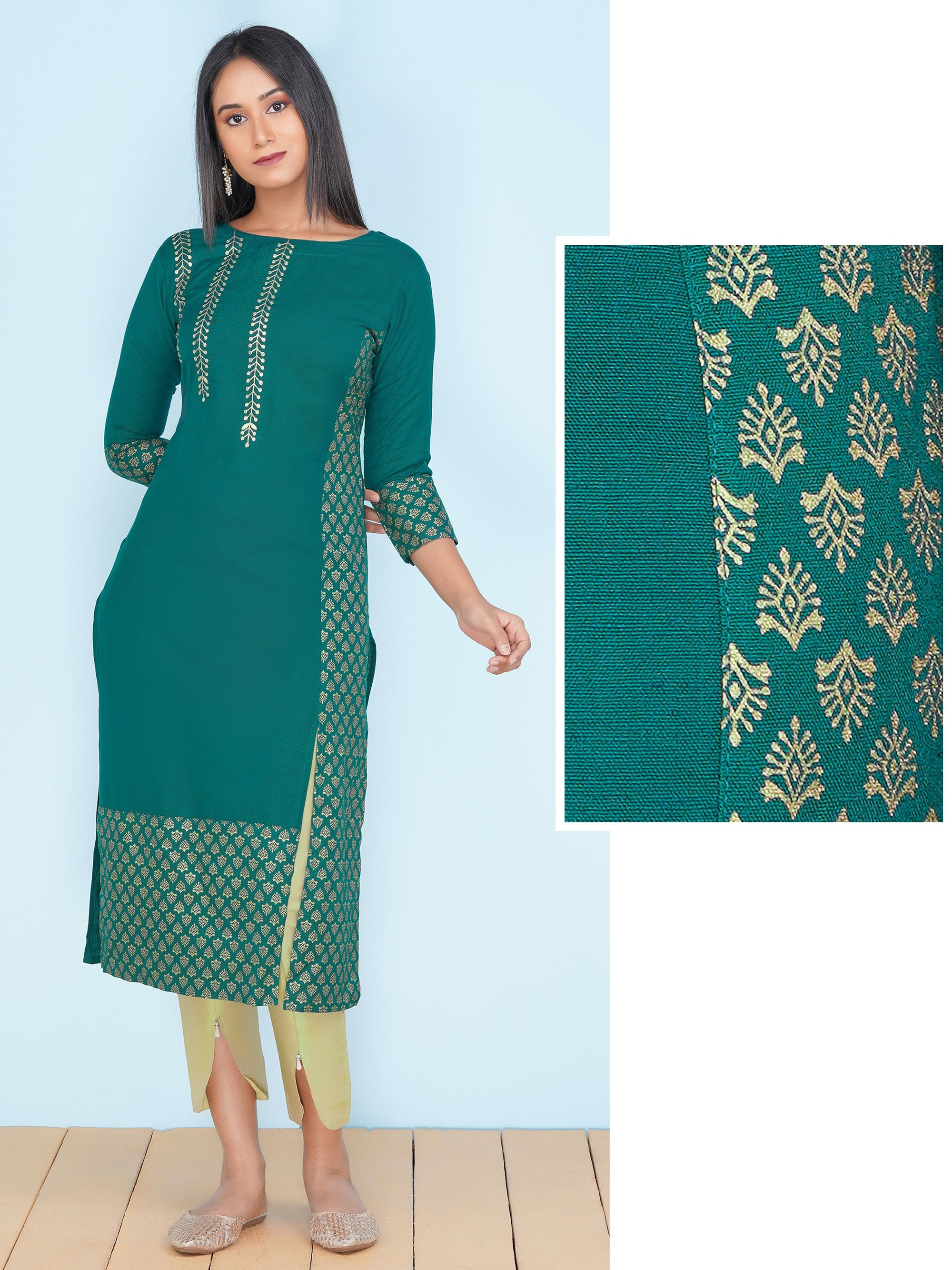 Pittan Embroidery & Gold Print Kurti – Bottle Green