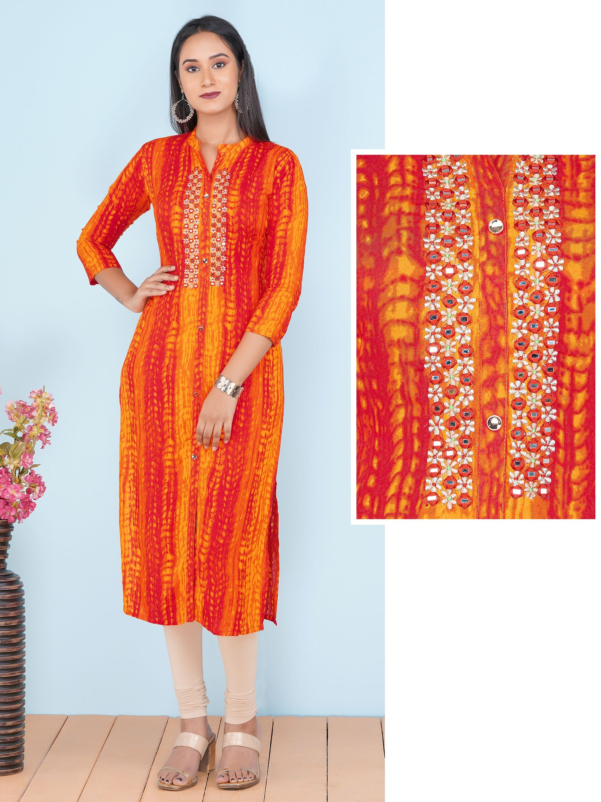Zari Embroidered & Shibori Printed Rayon Kurti – Orange
