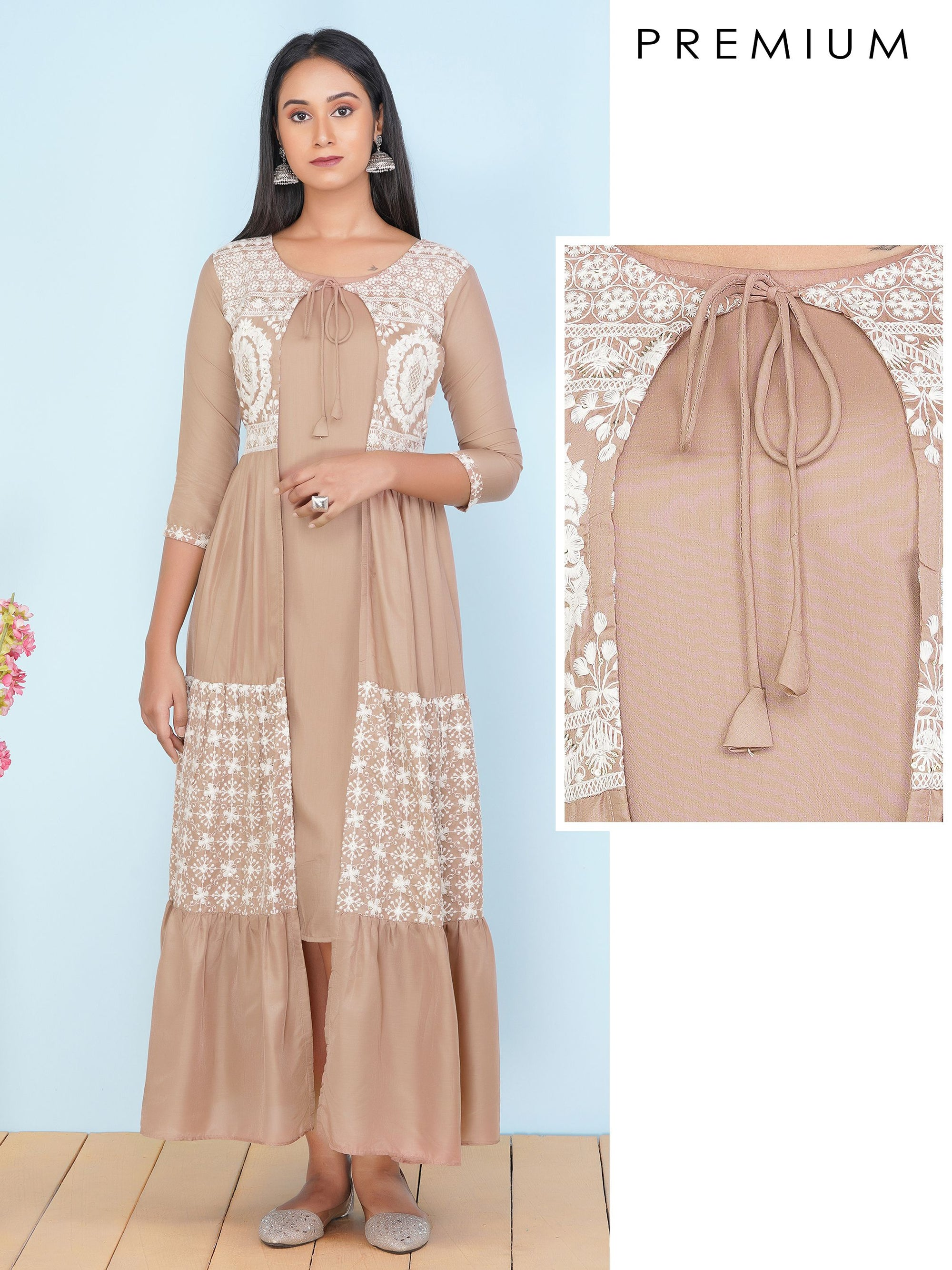 Solid Maxi Attached with Floral Chikankari Embroidered Jacket – Nude Brown