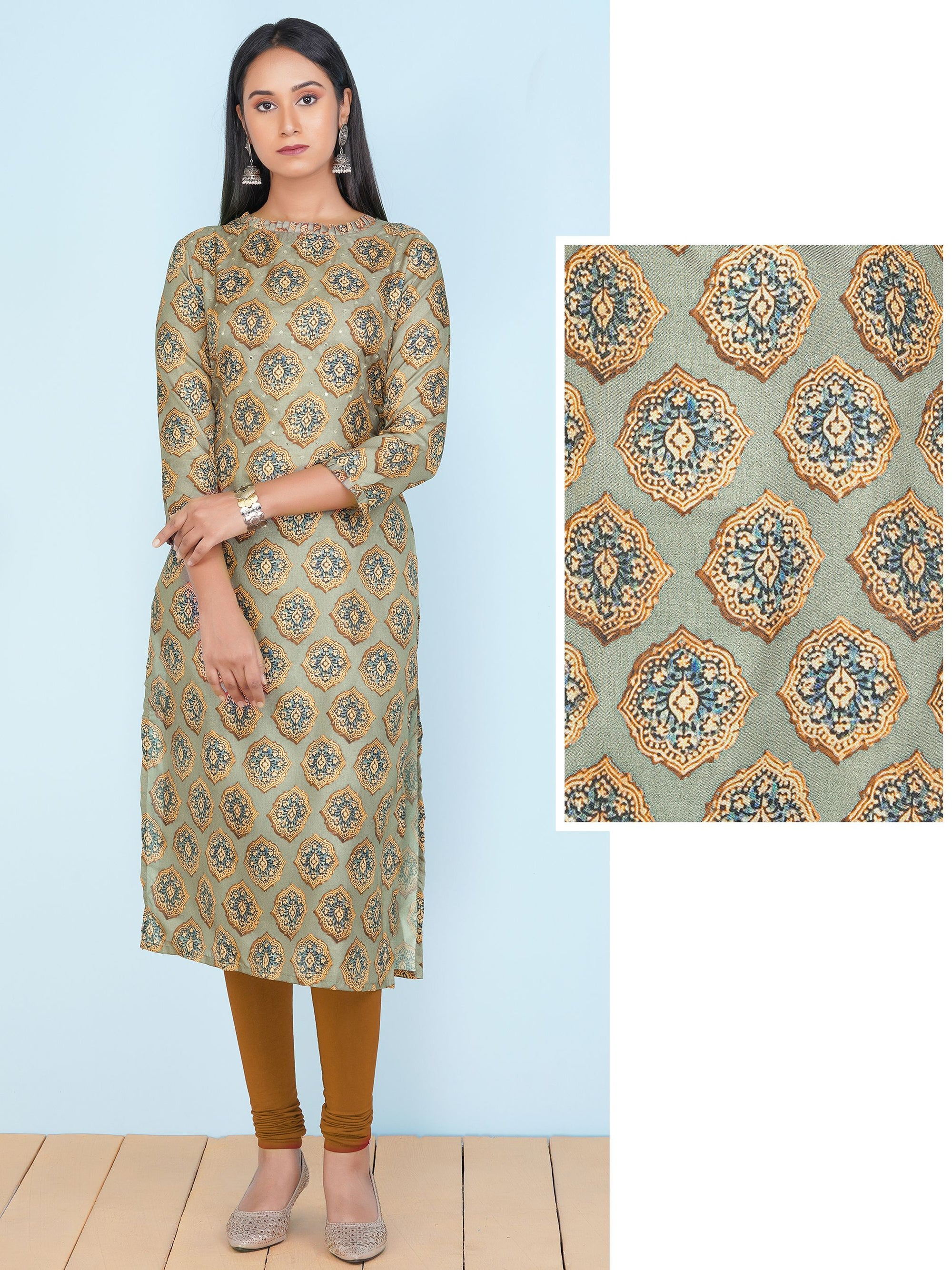 Mirror Embroidered & Floral Printed Kurti – Pickle Green