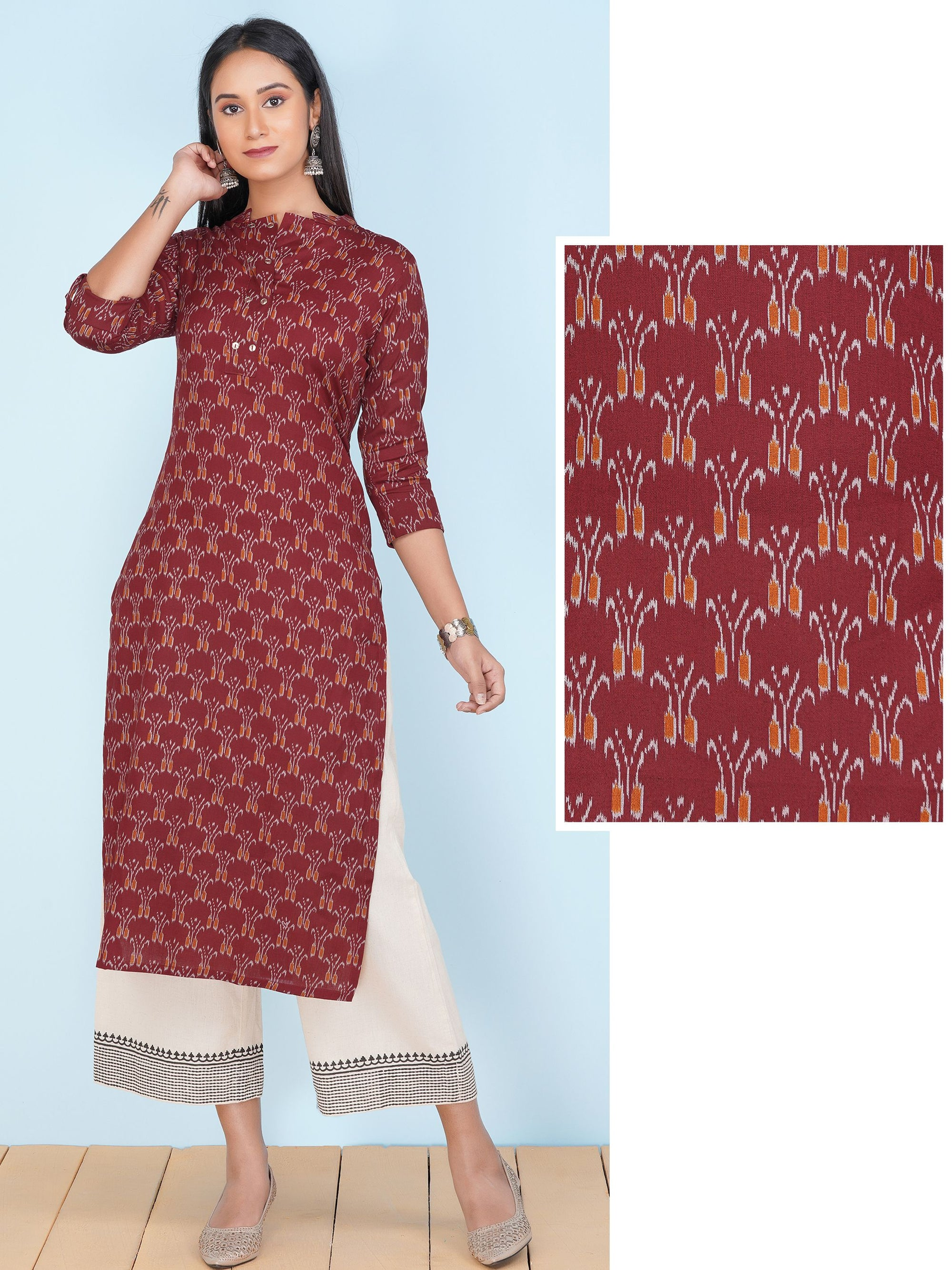 Abstract Ikkat Printed Cotton Kurti