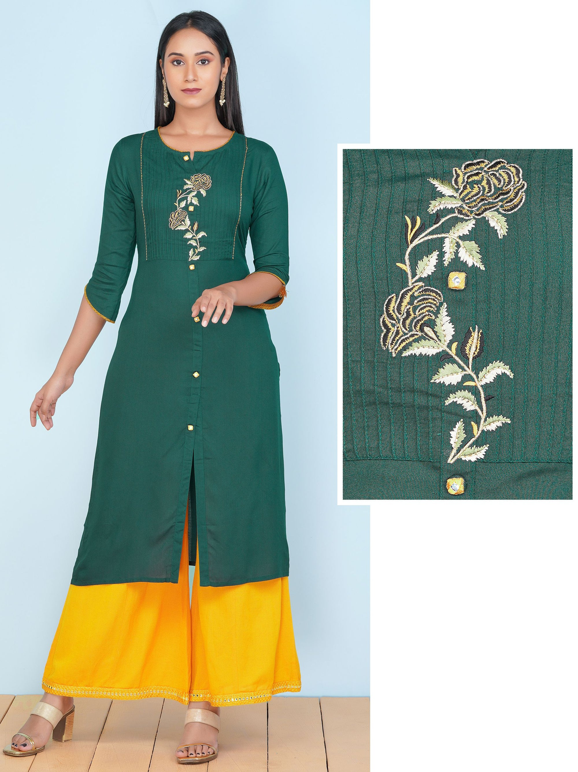 Straight Kurti with Floral Embroidery Motif