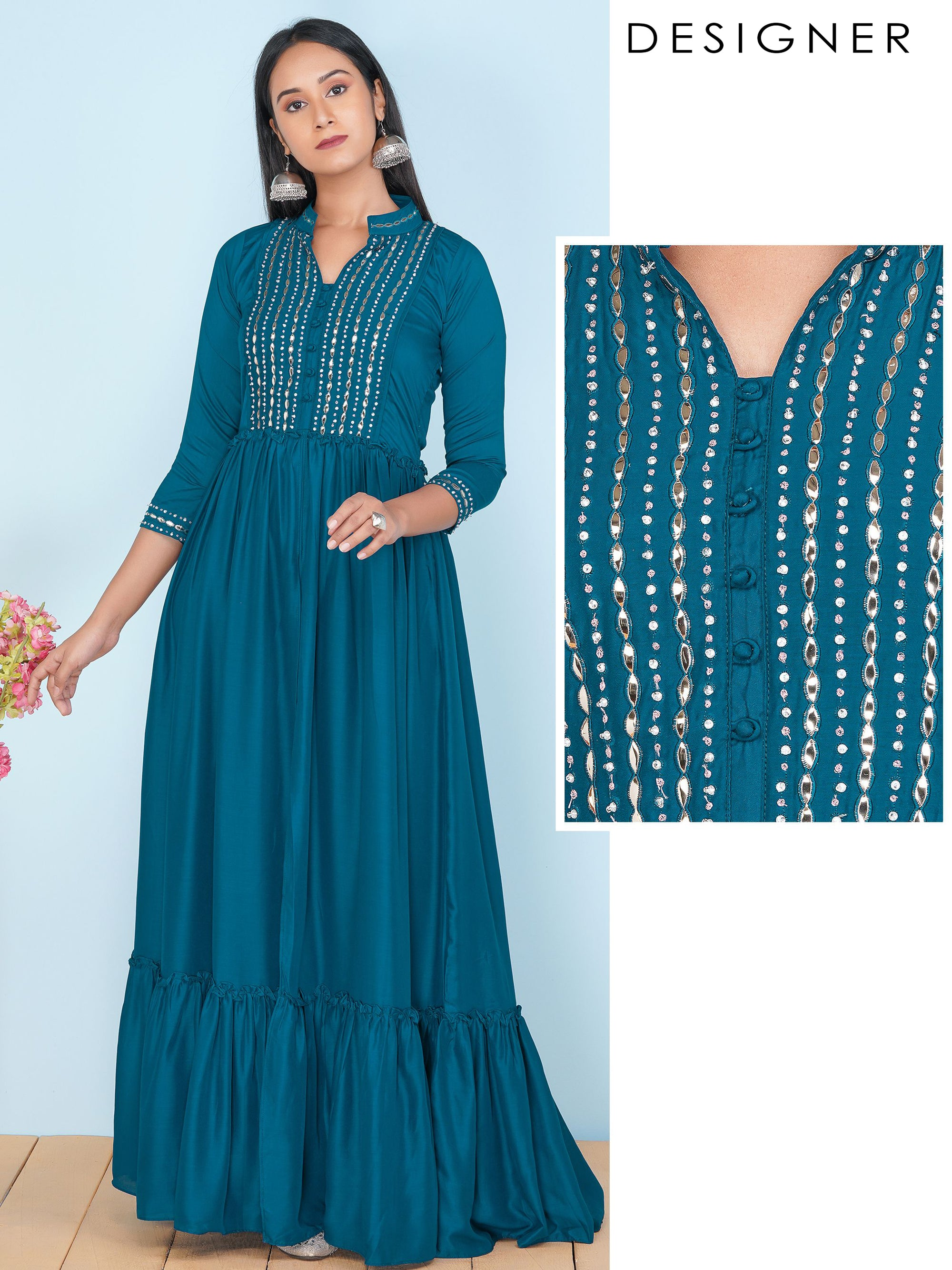 Sequins & Bead work Embellished Layered Maxi