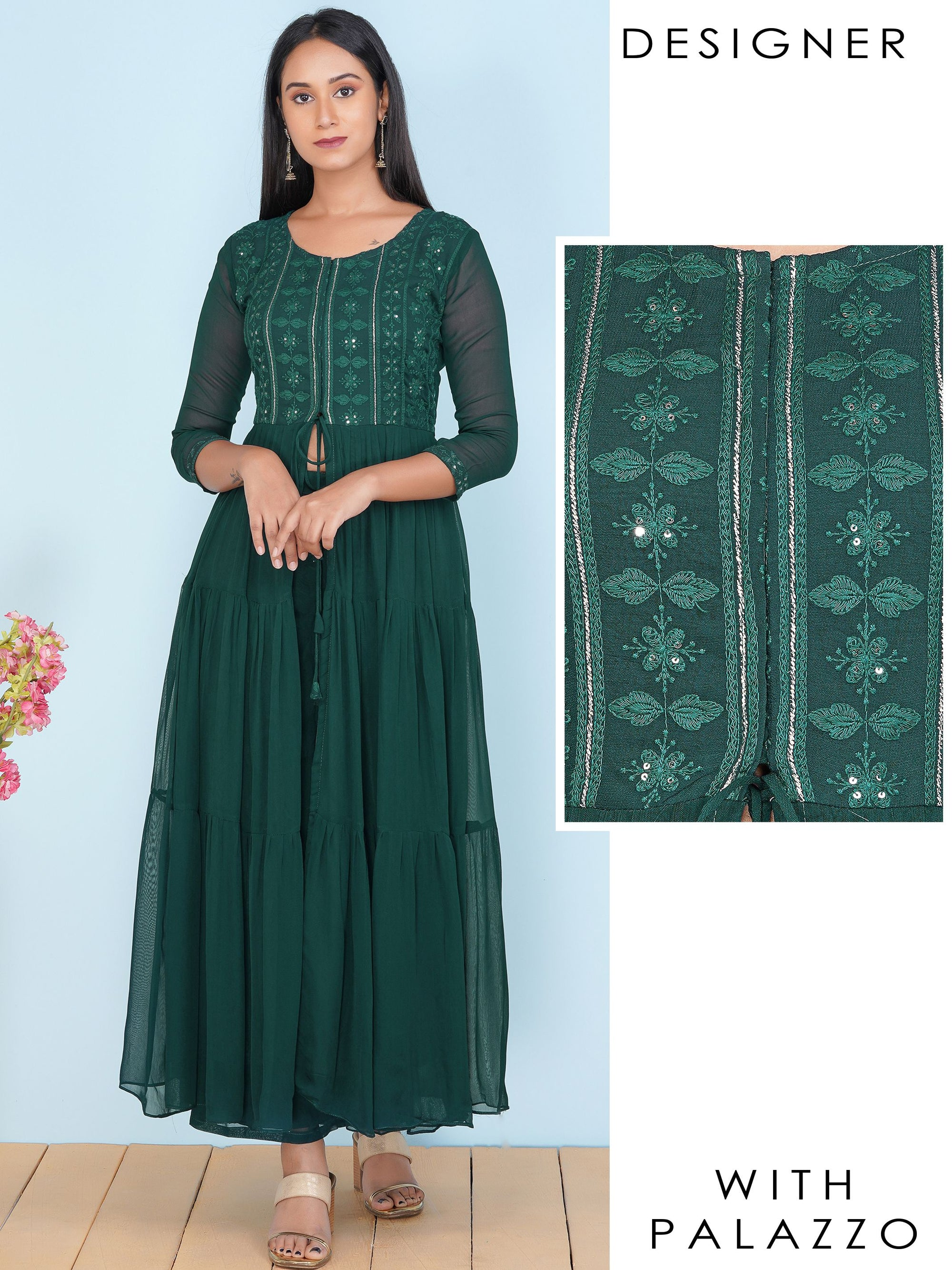 Chikankari Self Embroidered Tier Kurti & Solid Palazzo Set – Teal Green