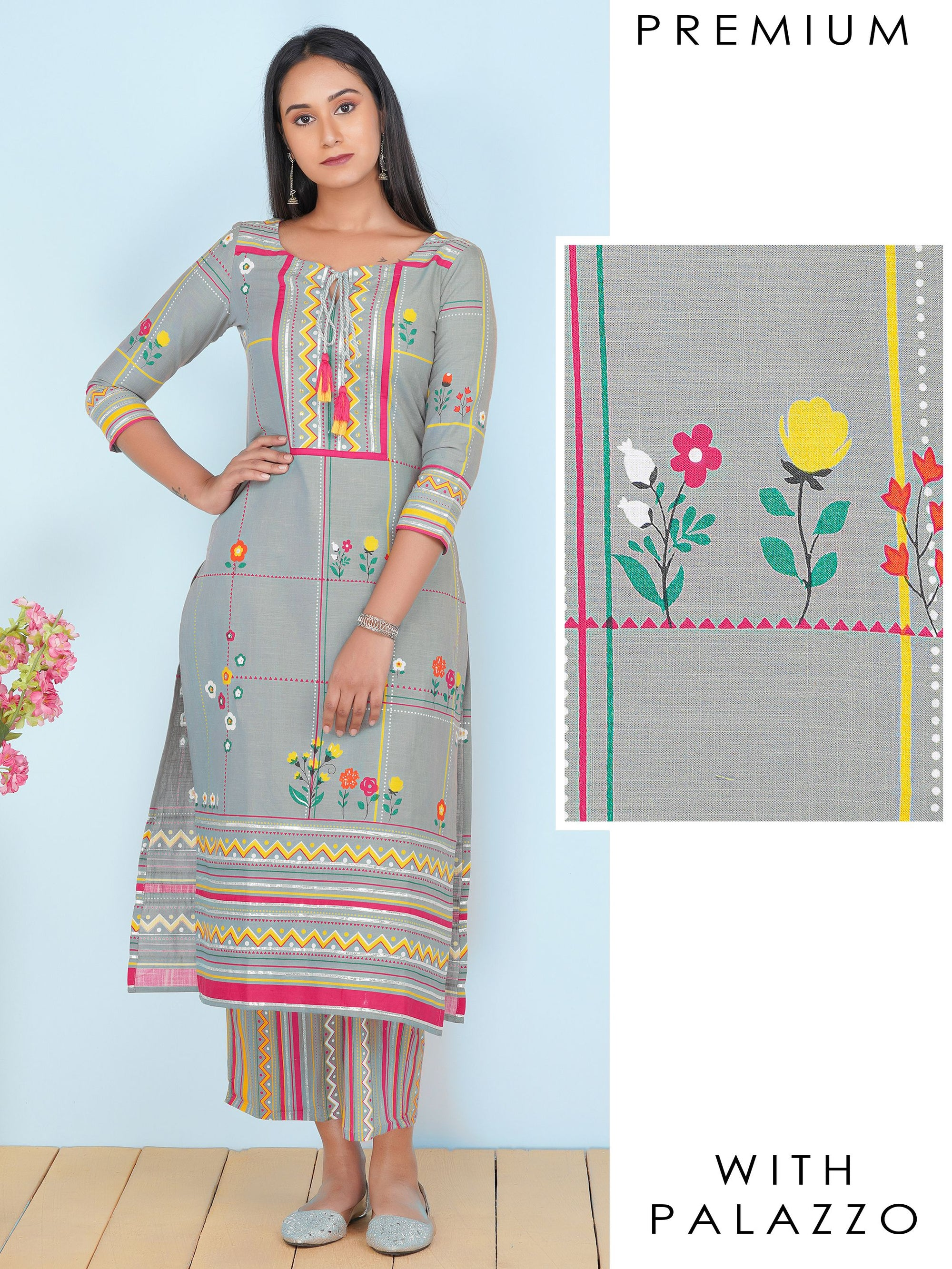Gota Detailed & Geometric Printed Straight Kurti & Palazzo Set