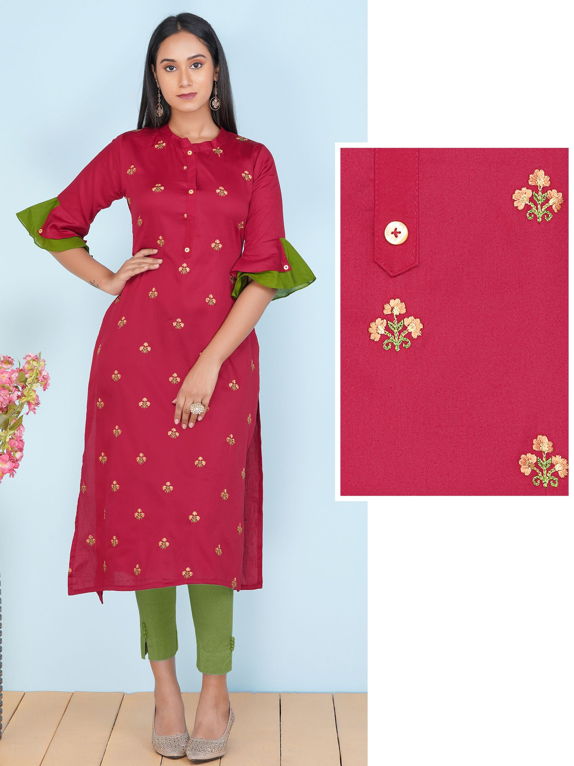 Floral Buta Embrodiered Straight Kurti