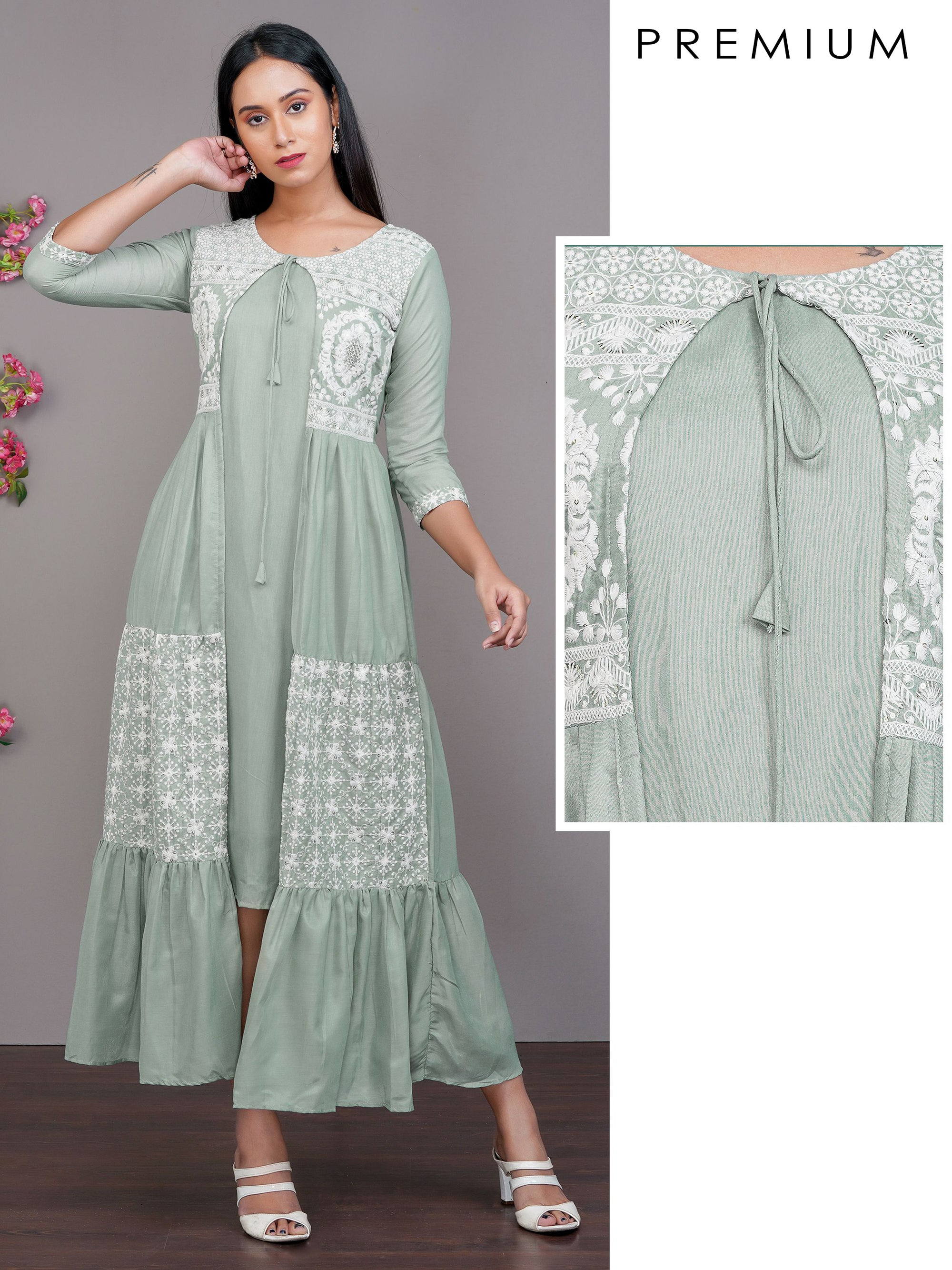 Solid Maxi Attached with Floral Chikankari Embroidered Jacket  – Mint Green