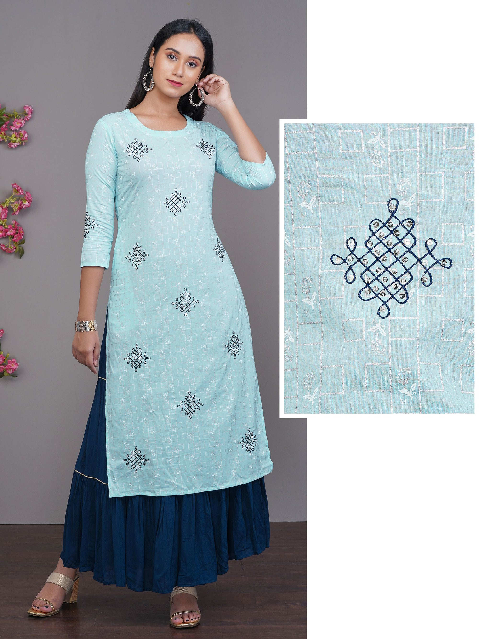 Geometric & Paisley Printed Kurti With Embroidered Motif Embellished with Sequins all over Kurti – Sky Blue