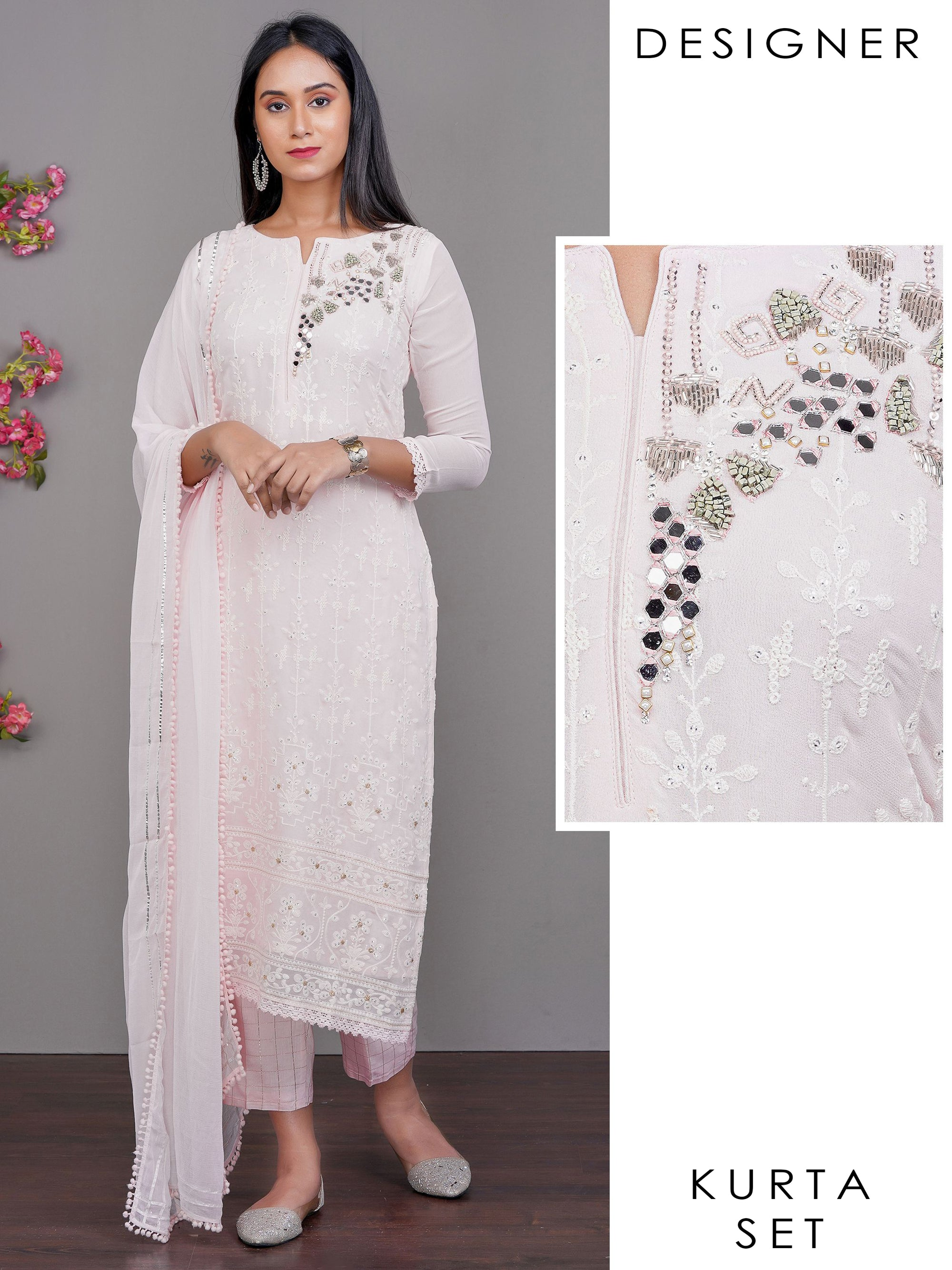 Mirror & Bead work Chikankari Embroidered Kurti with Checkered Pant With Dupatta set