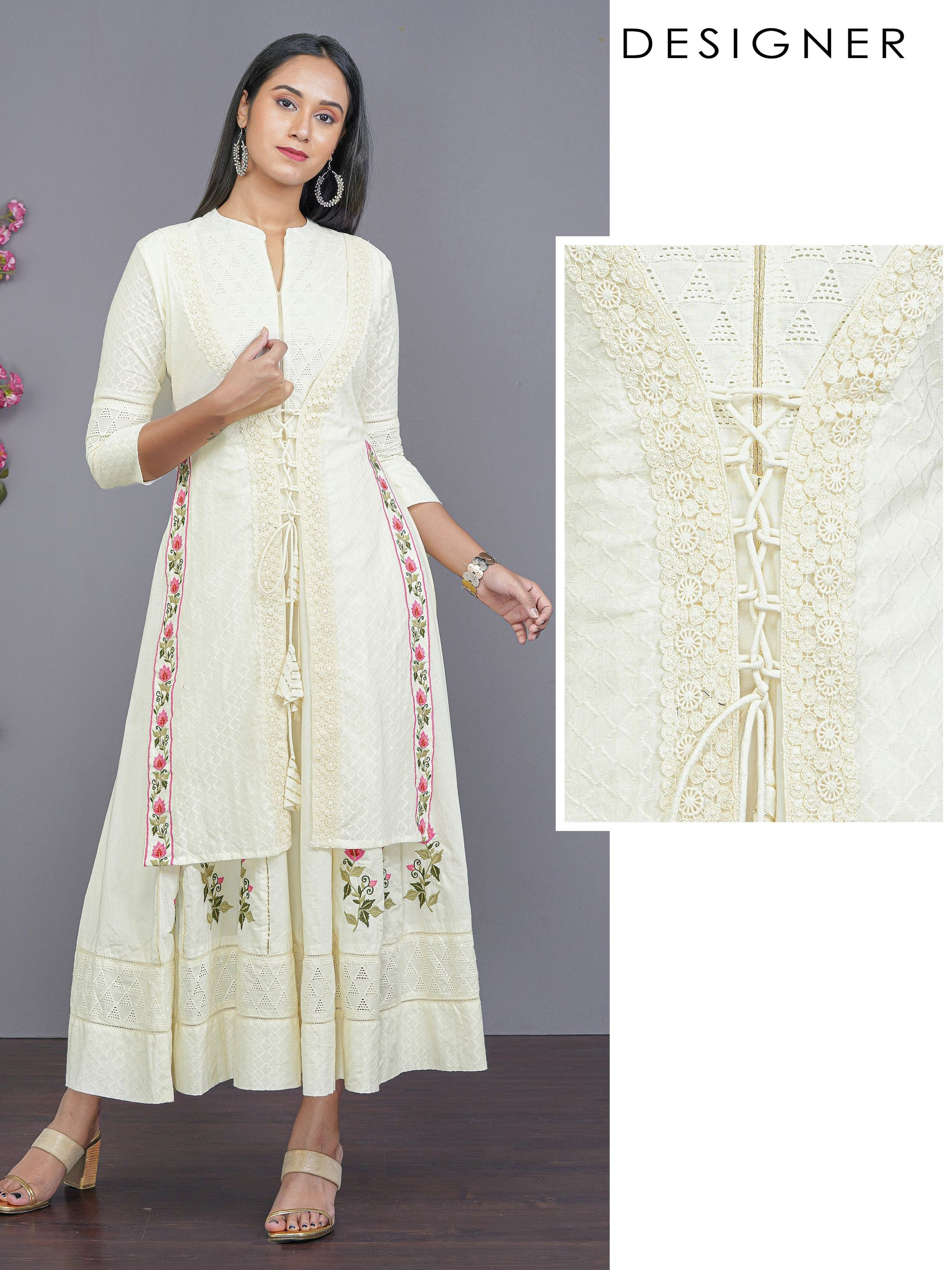Schiffli Jacket Styled Maxi with Floral Embroidery