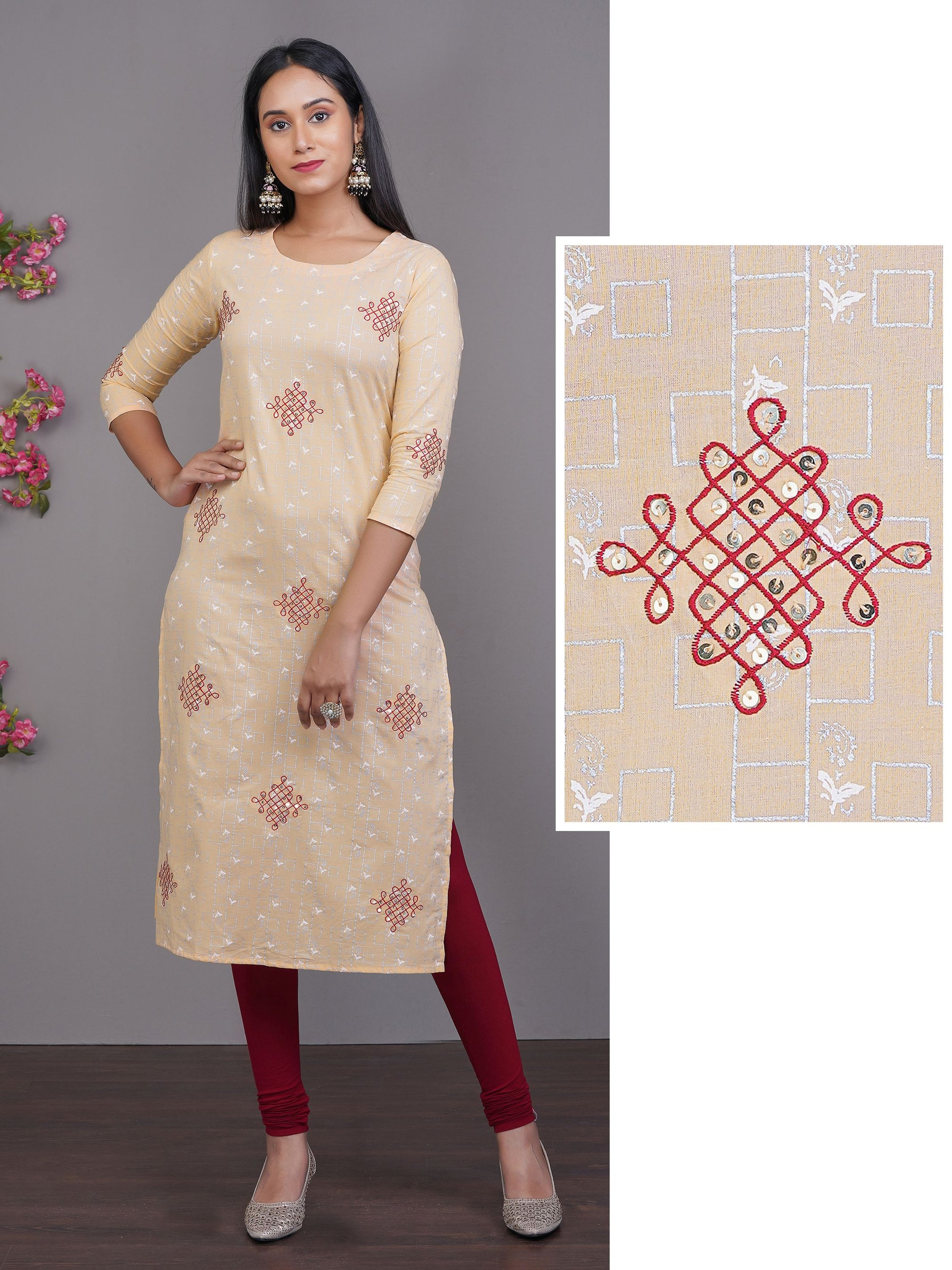 Geometric & Paisley Printed Kurti With Embroidered Motif Embellished with Sequins all over Kurti – Peach