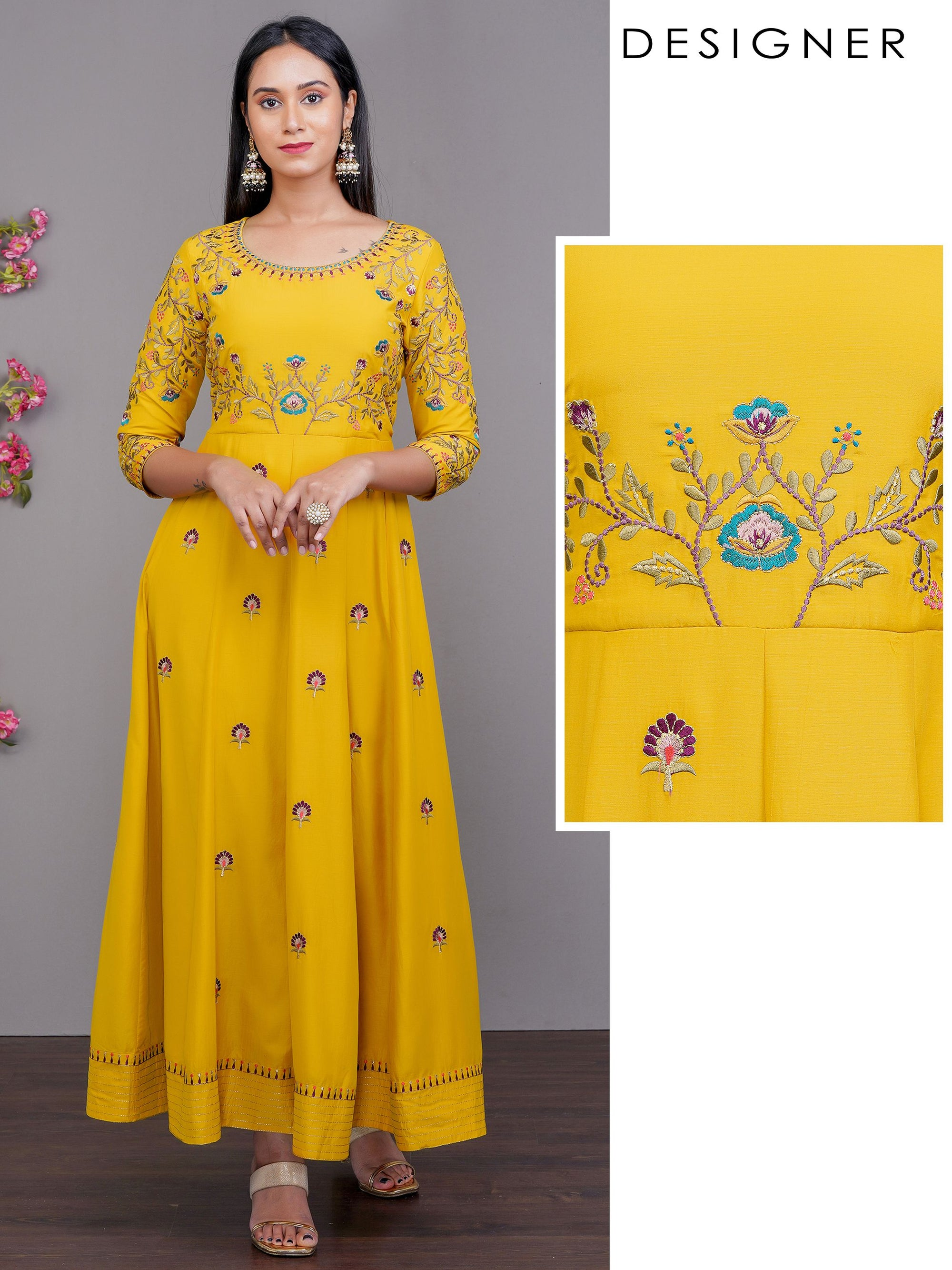 Floral & Chain Embroidered Multi Panel Designer Maxi – Mustard
