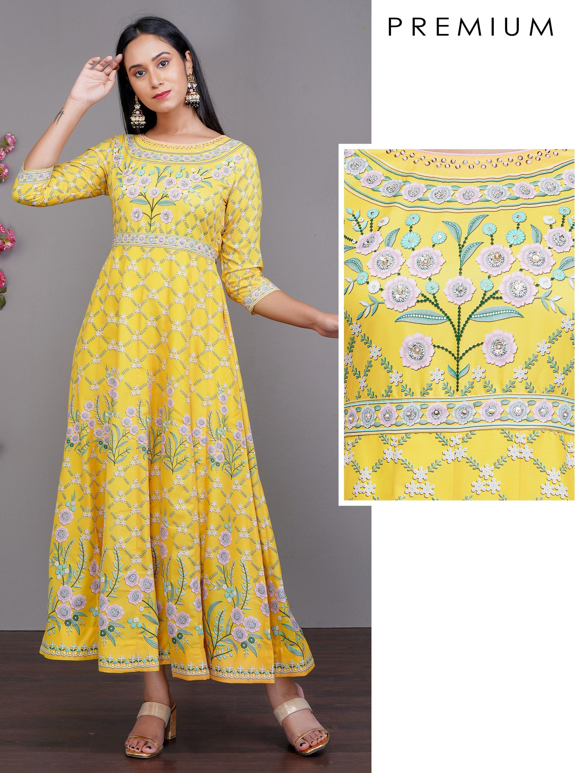 Digital Floral Printed & Multi Panel Premium Sequined Maxi – Yellow