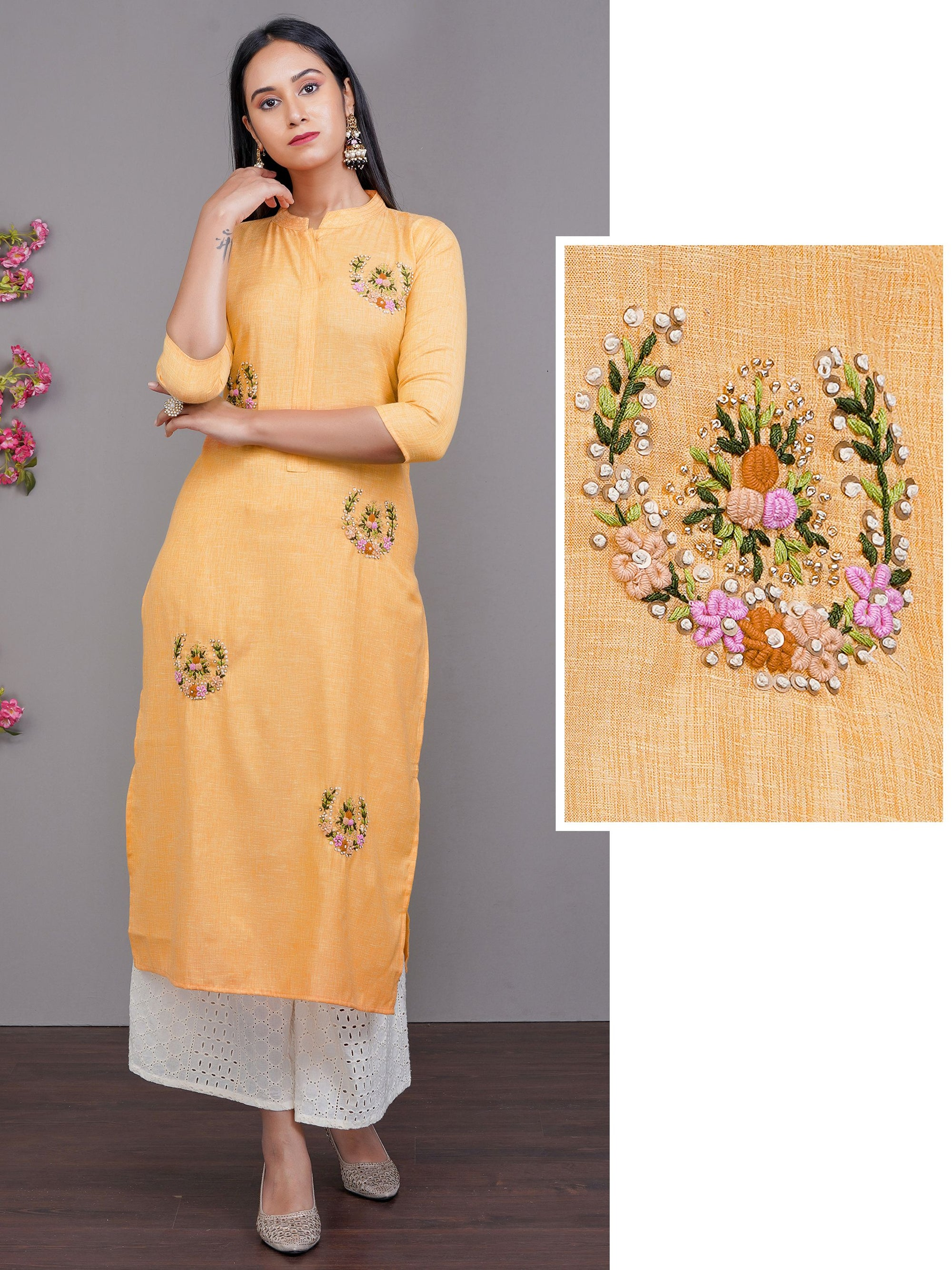 Bullion Floral Embroidered Cotton Kurti – Orange