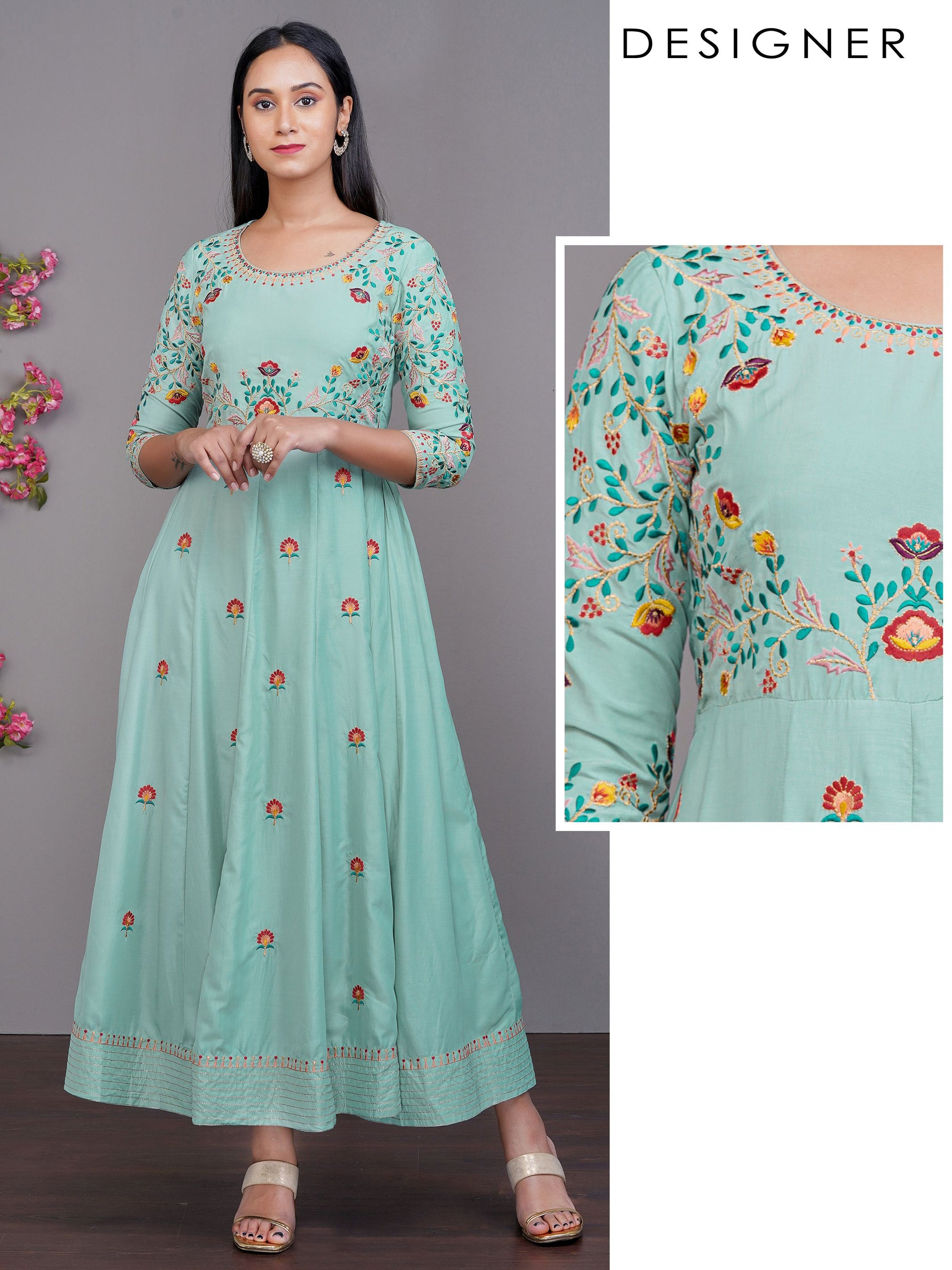 Floral & Chain Embroidered Multi Panel Designer Maxi – Cyan