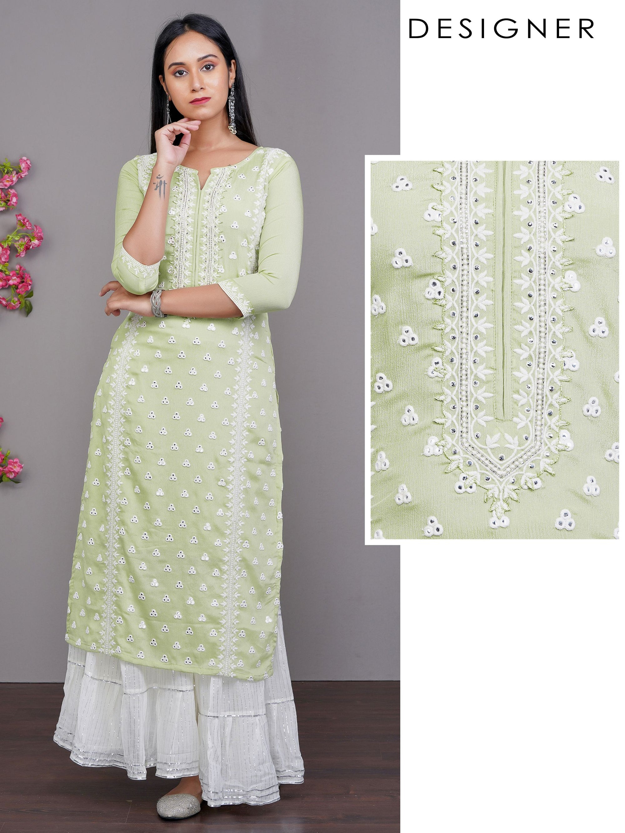 Foil Mirror worked & Floral Embroidered Crushed Kurti