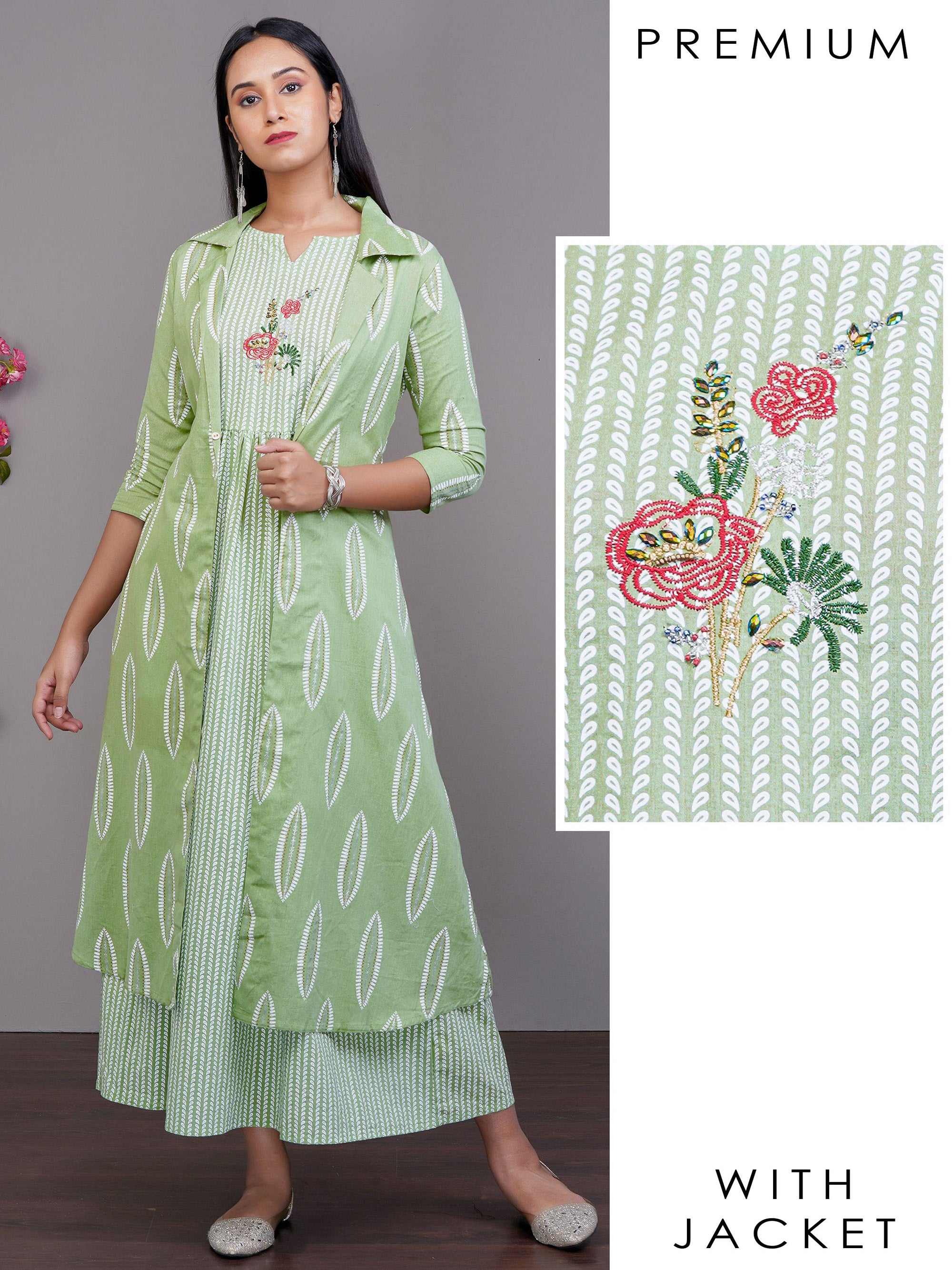Minimal Printed Embroidered Maxi with Pinnate Leaf Printed Jacket – Mint Green