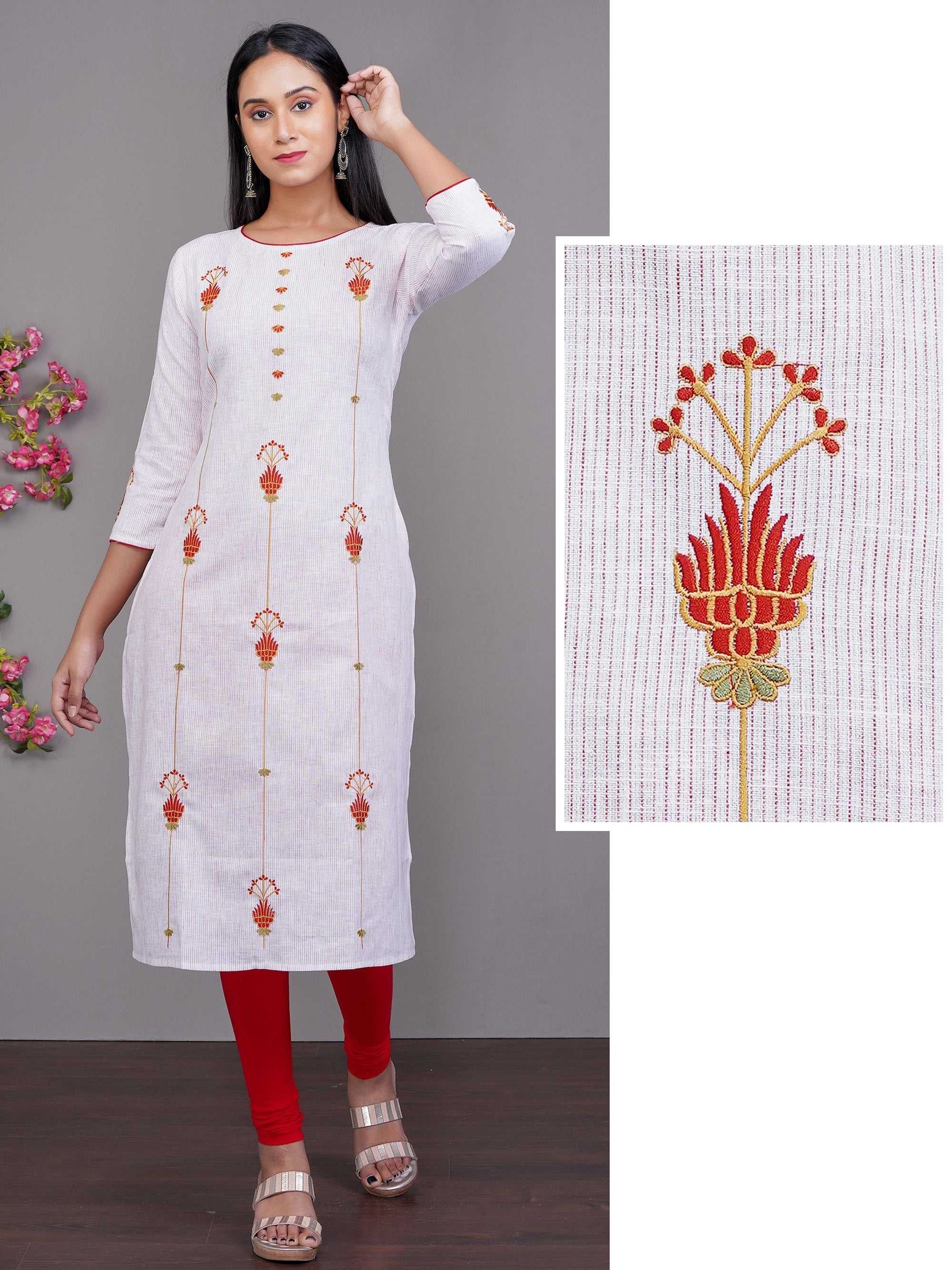 Contrast Floral Embroidered Pin Striped Cotton Kurti