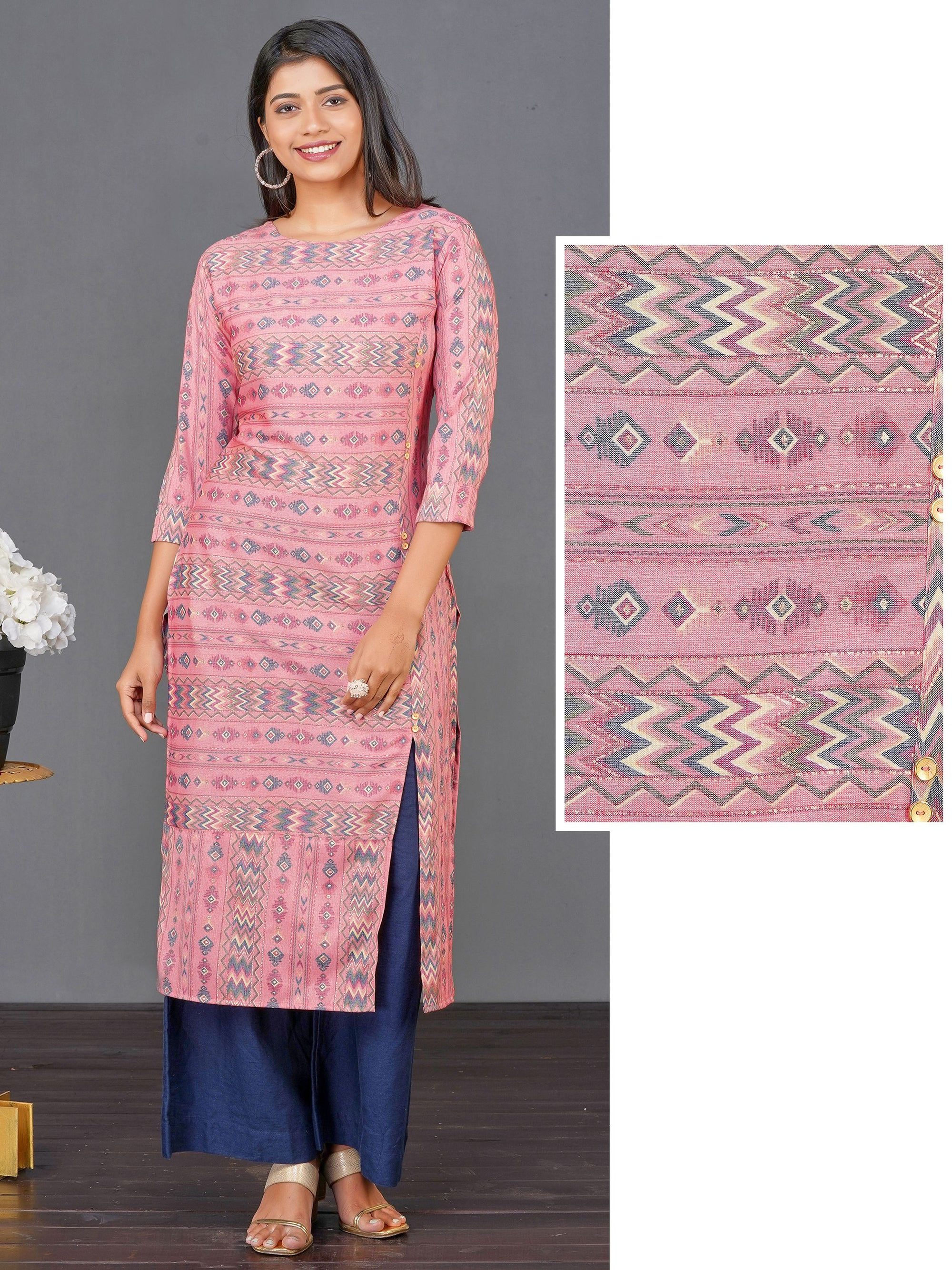 Abstract Chevron Printed Dual Toned Kurti