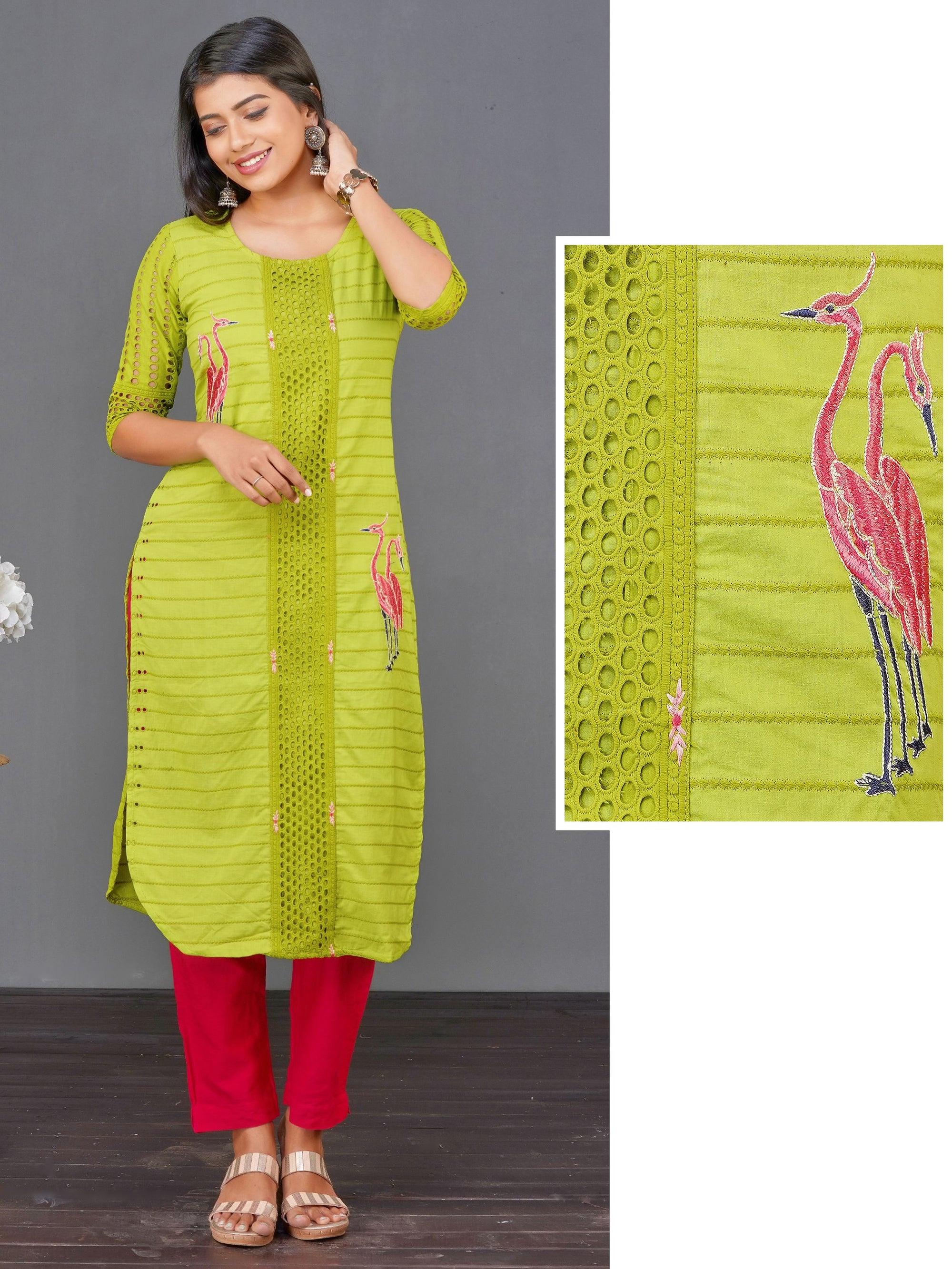 Flamingo & Hakoba Embroidered Cotton Kurti