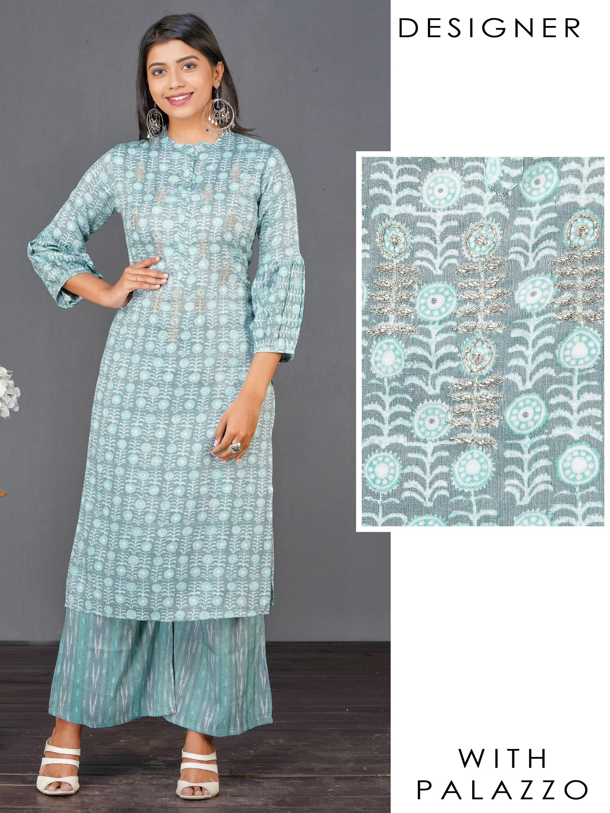 Floral Printed, Cutdana Embellished Kurti & Vertical Striped Palazzo Set – Powder Blue