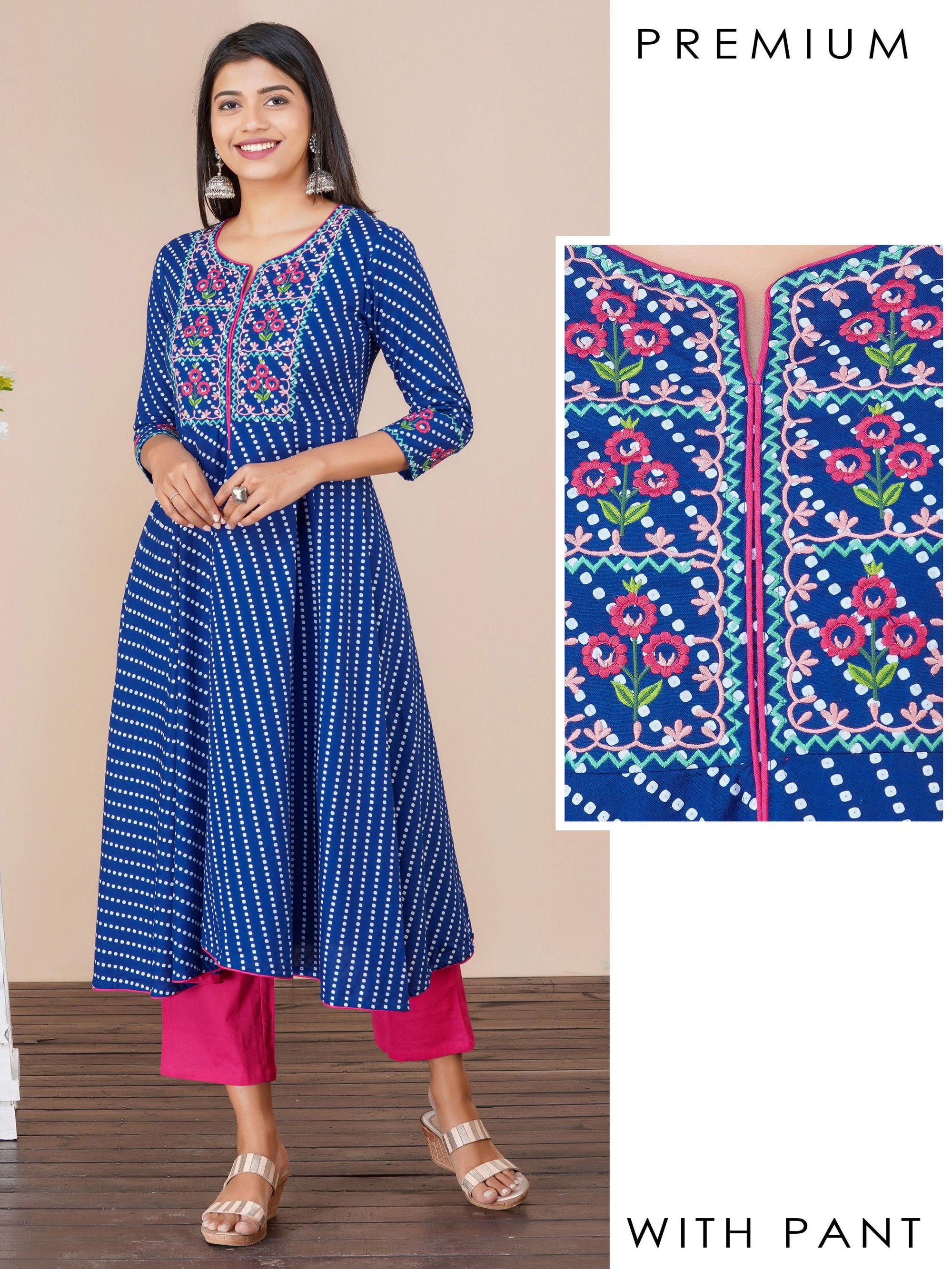 Chalk striped and floral embroidered kurta and pant set
