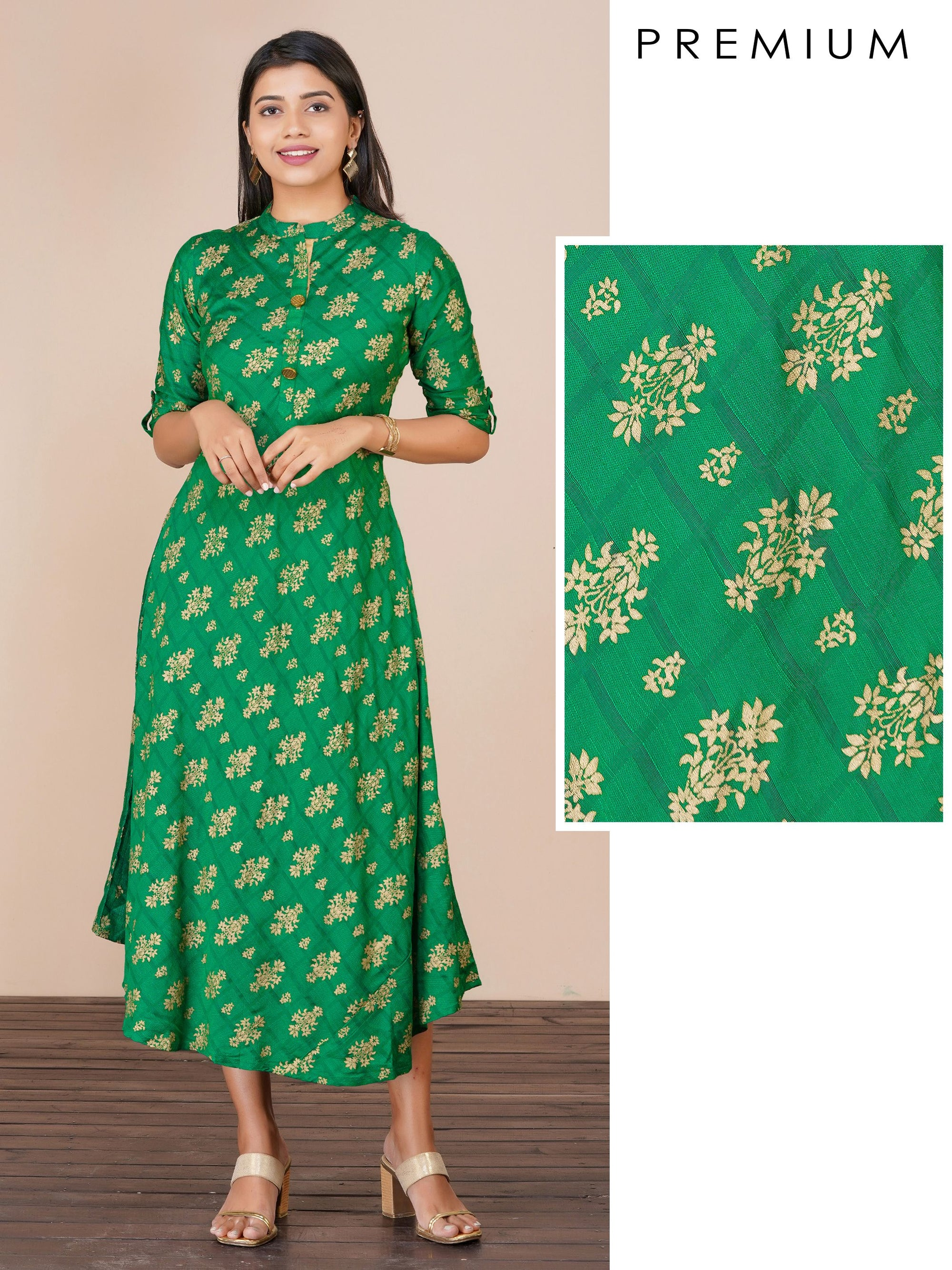 Khari floral printed & checkered A-line kurti – Kelly green
