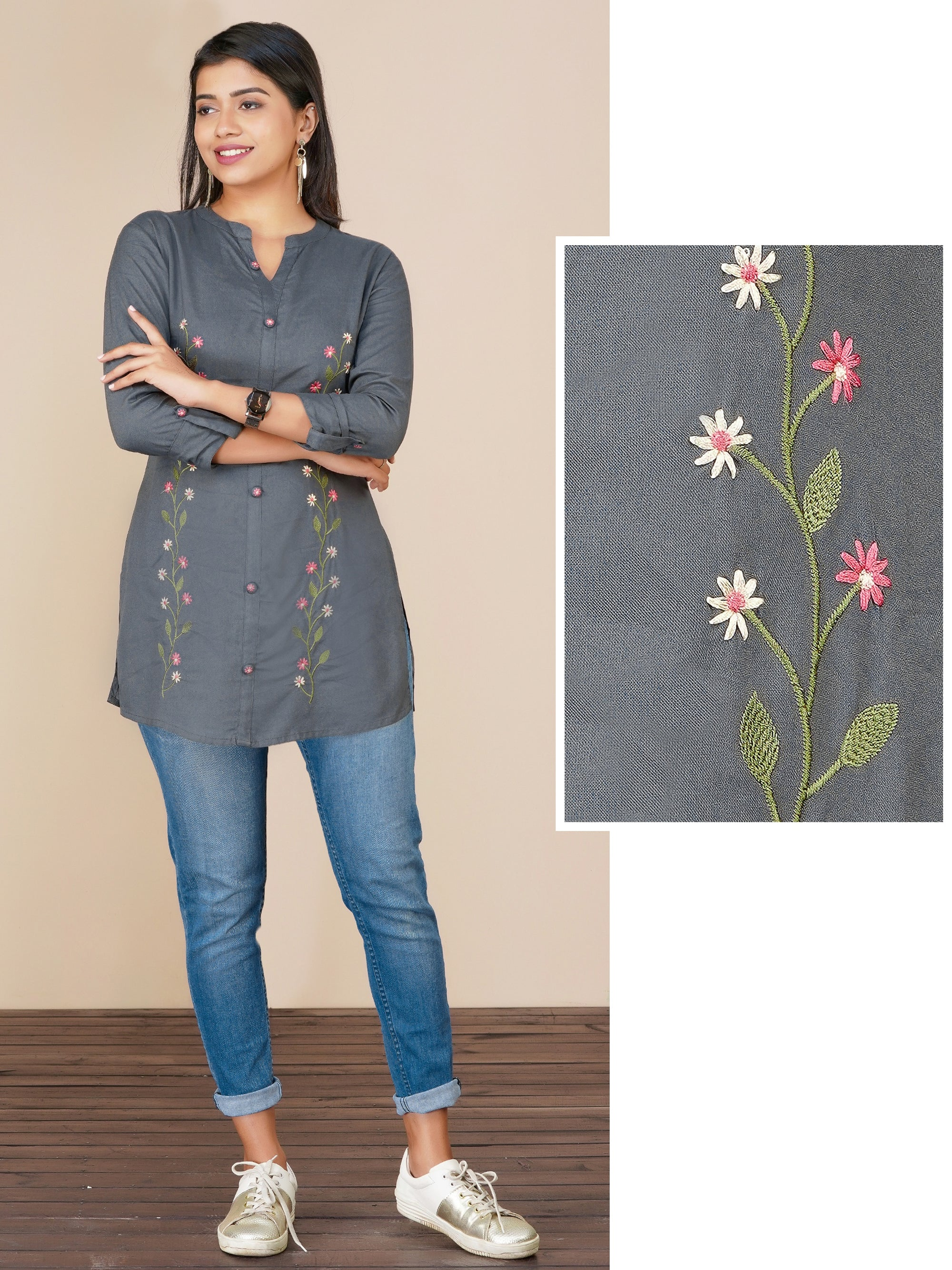 Floral Hand Embroidered Rayon Tunic – Grey