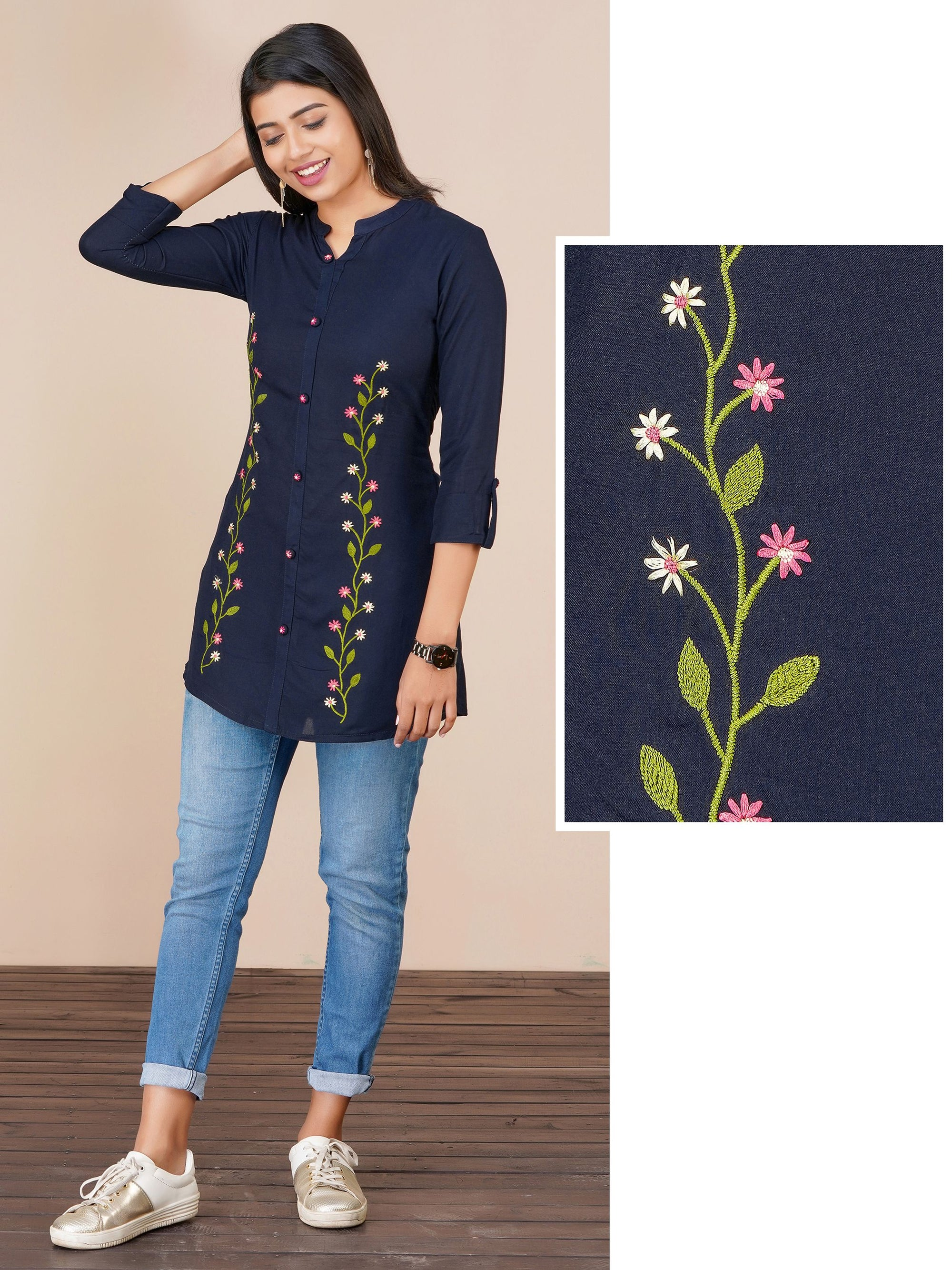 Floral Hand Embroidered Rayon Tunic – Navy Blue