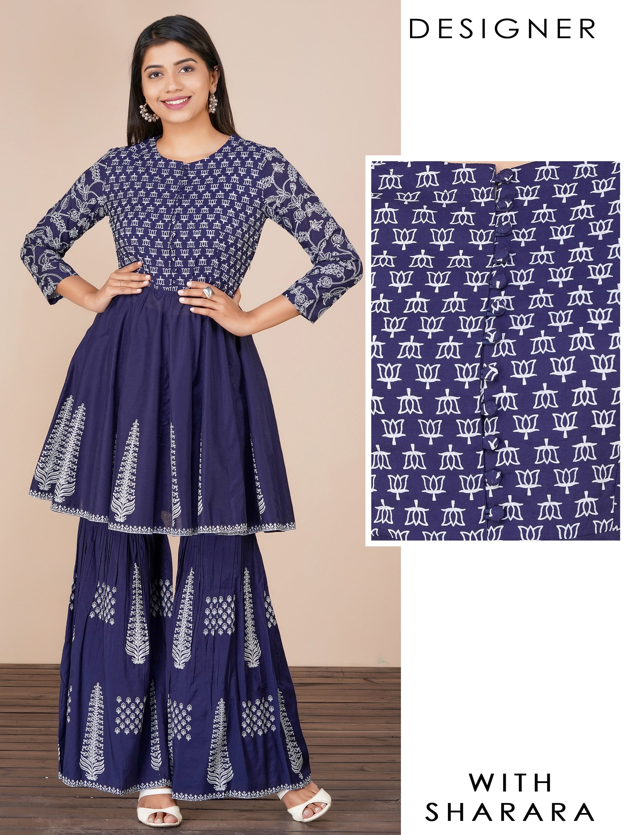 Lotus & Floral Printed Designer Kurti with Pinnate Leaf Printed Sharara – Navy Blue