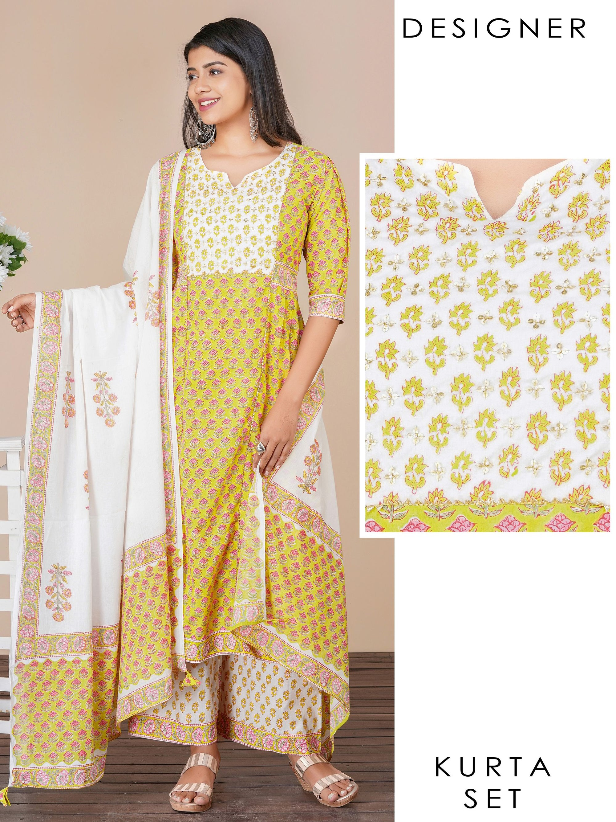 Floral ethnic buta printed kurti, palazzo and dupatta set