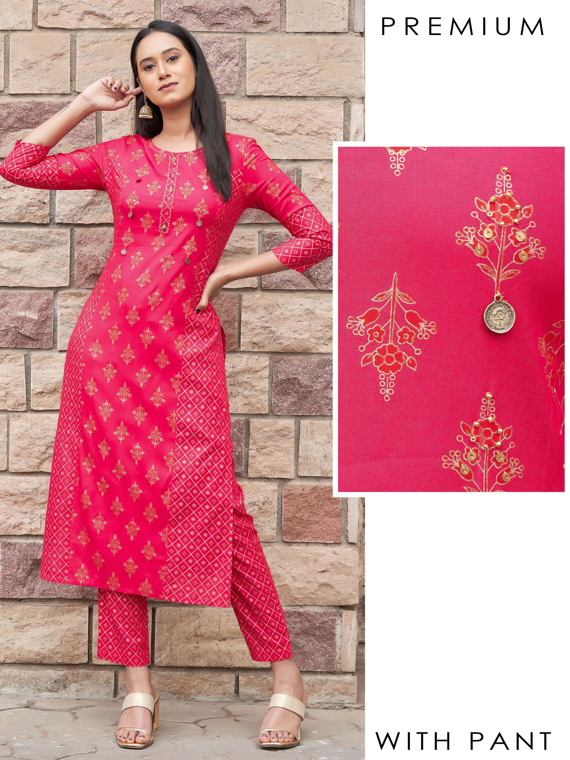 Tiki Coin Embellished Princess Cut Kurti with Diamond Khari Printed Pant