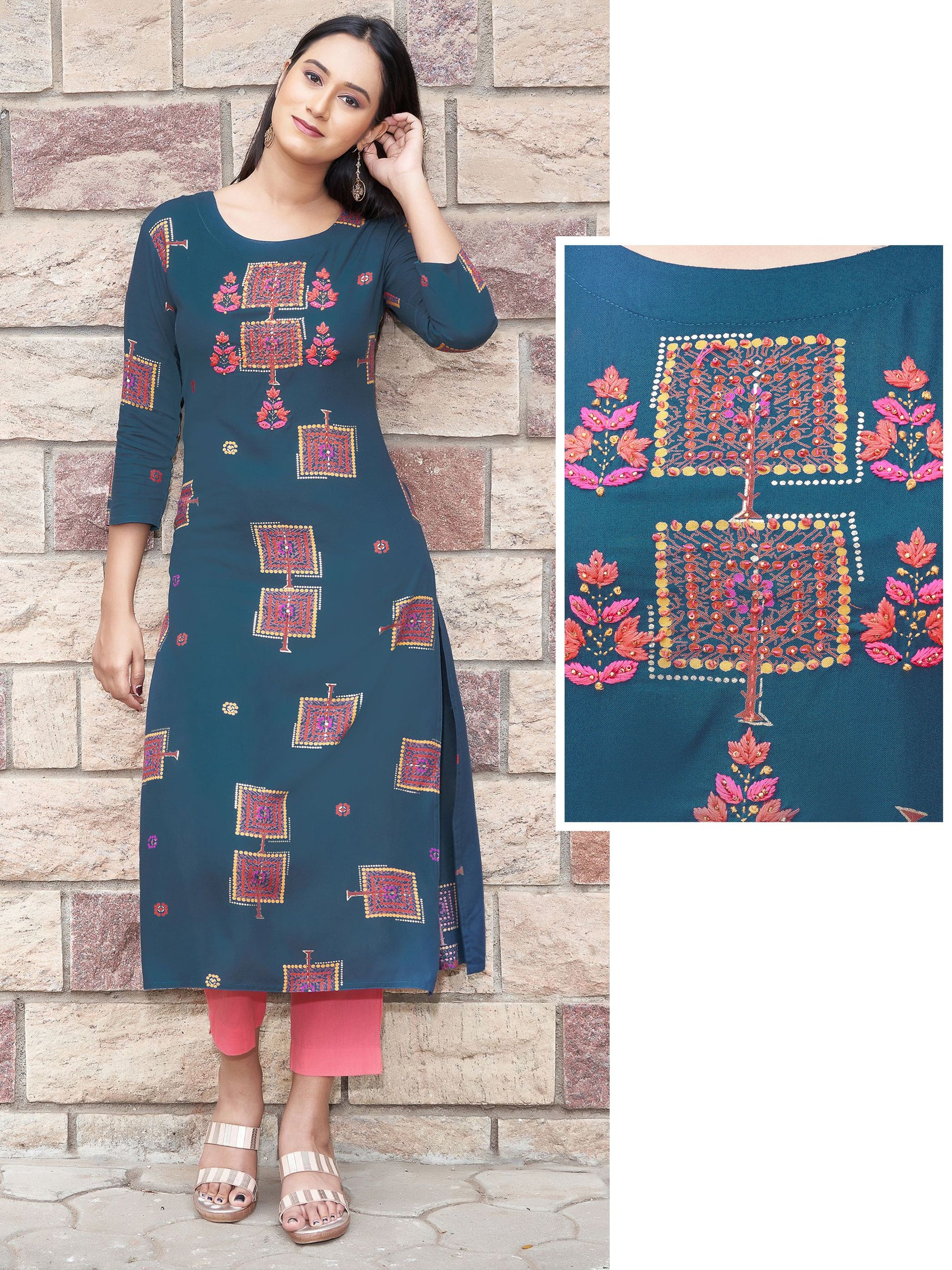 Abstract Leaf Printed & Hand Embroidered Kurti