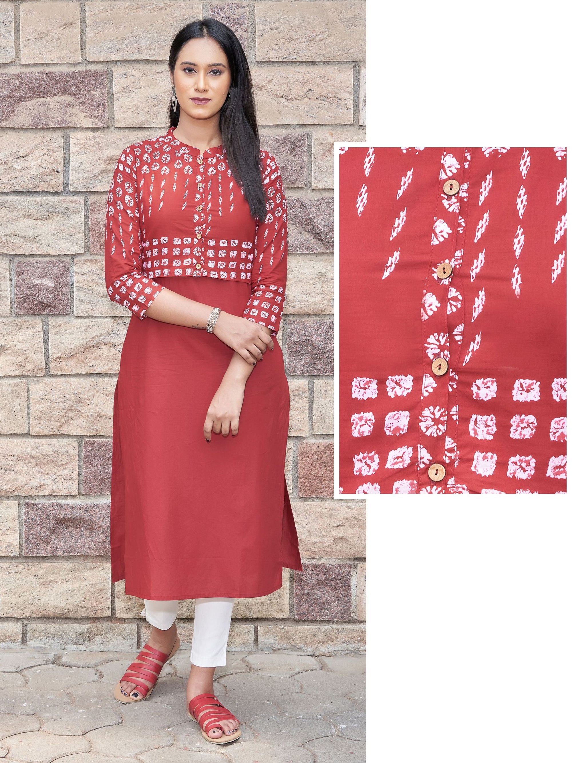 Solid Kurti Attached with Bandhani Printed Waistcoat – Scarlet Red