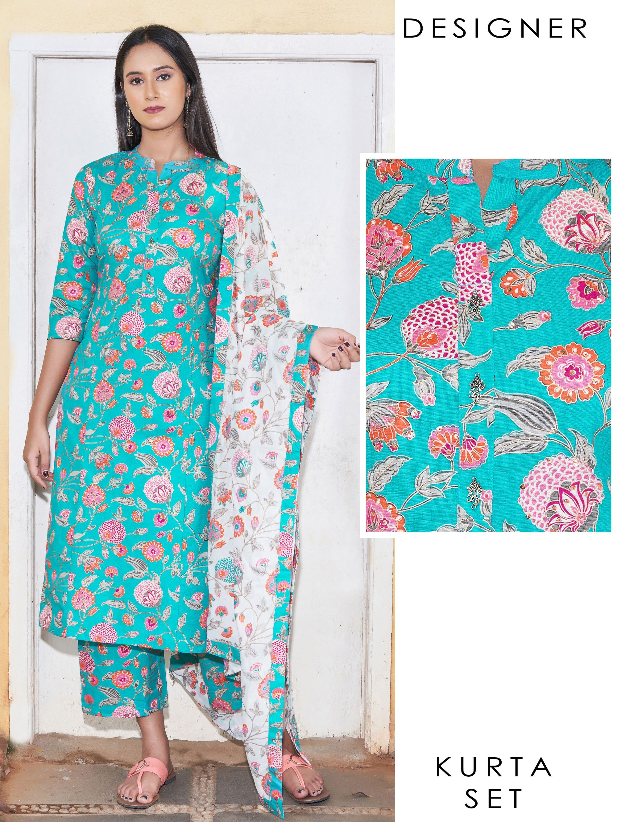 Sequins & Running Stitched Floral Kurti with Printed Palazzo & Dupatta