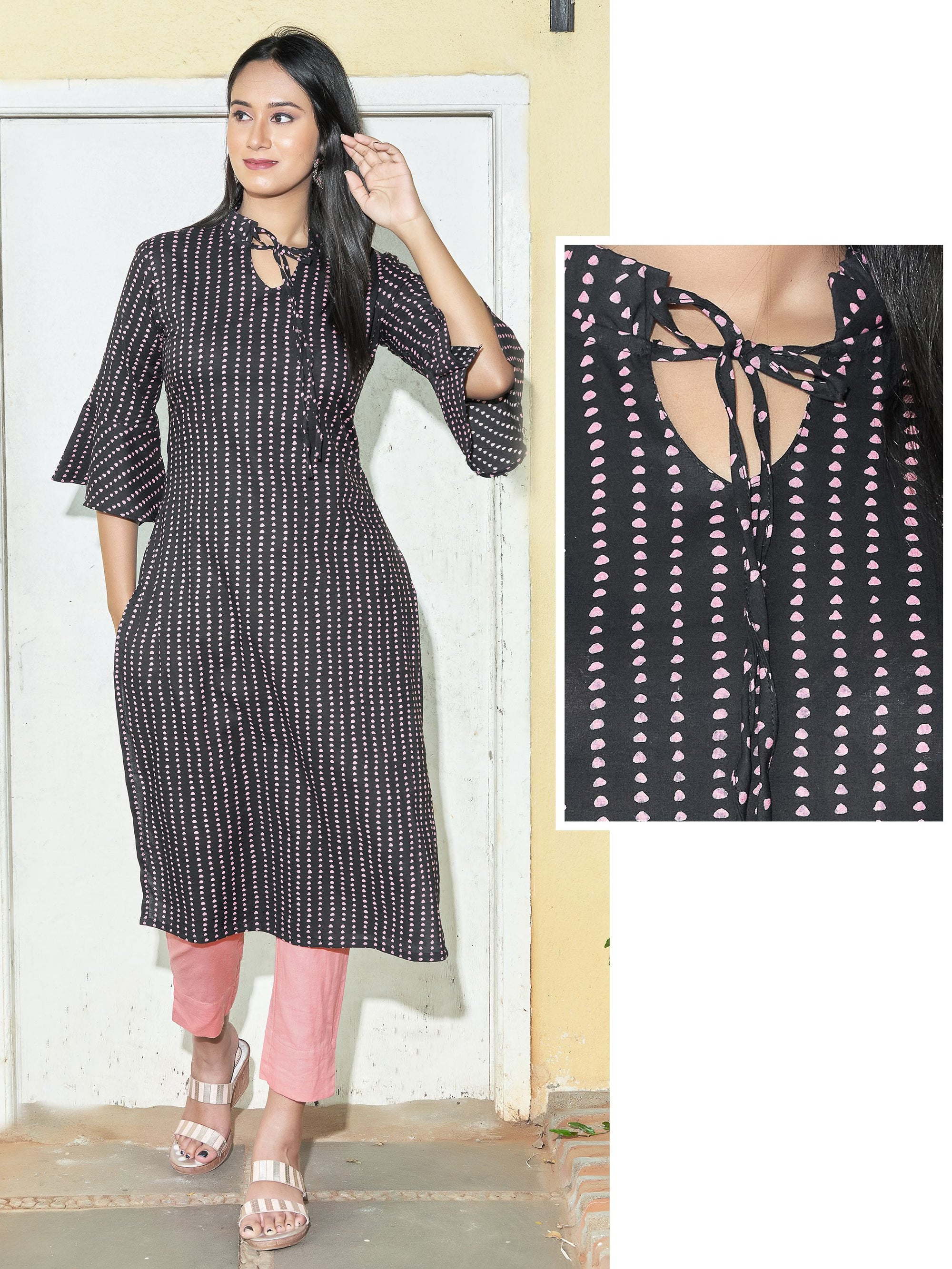 Abstract Dots Printed Cotton Kurti - Black