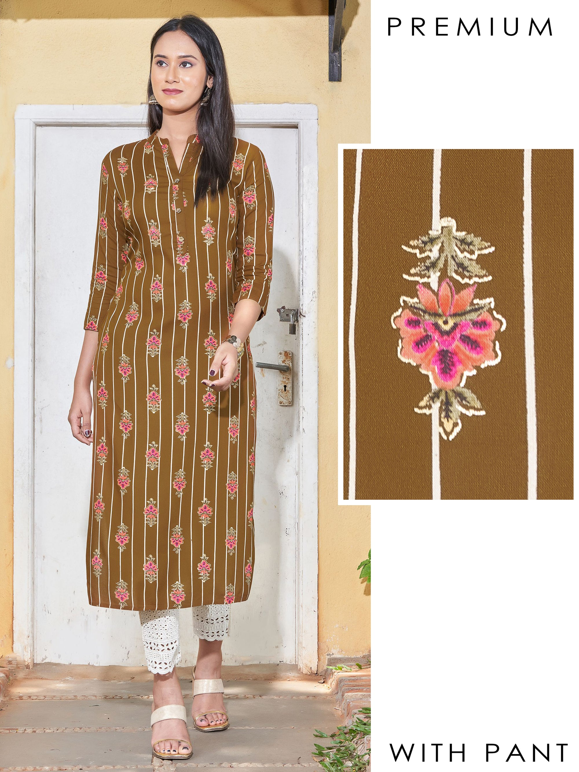 Khari Floral Printed & Cutdana Detailed Kurti with Cut work Embroidered Pant