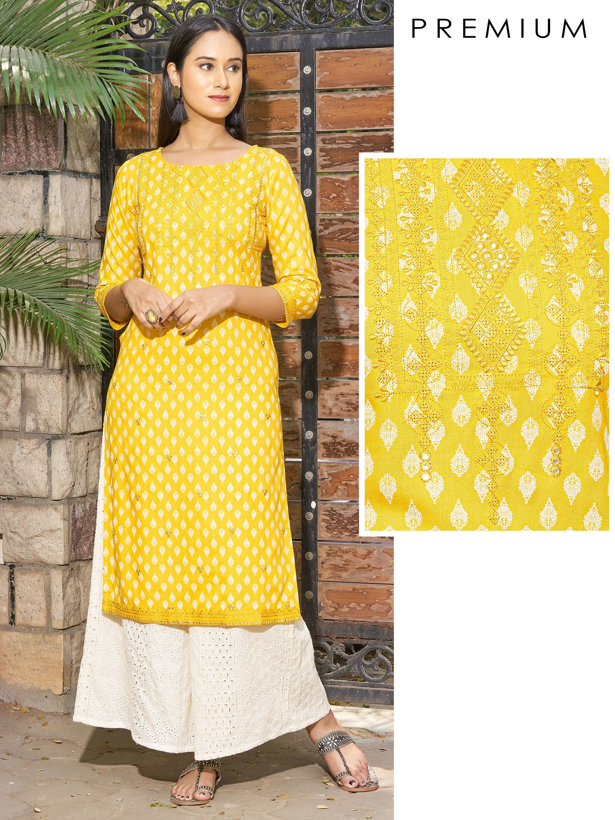 Floral Buta Printed & Foil Mirror worked, Self Embroidered Kurti
