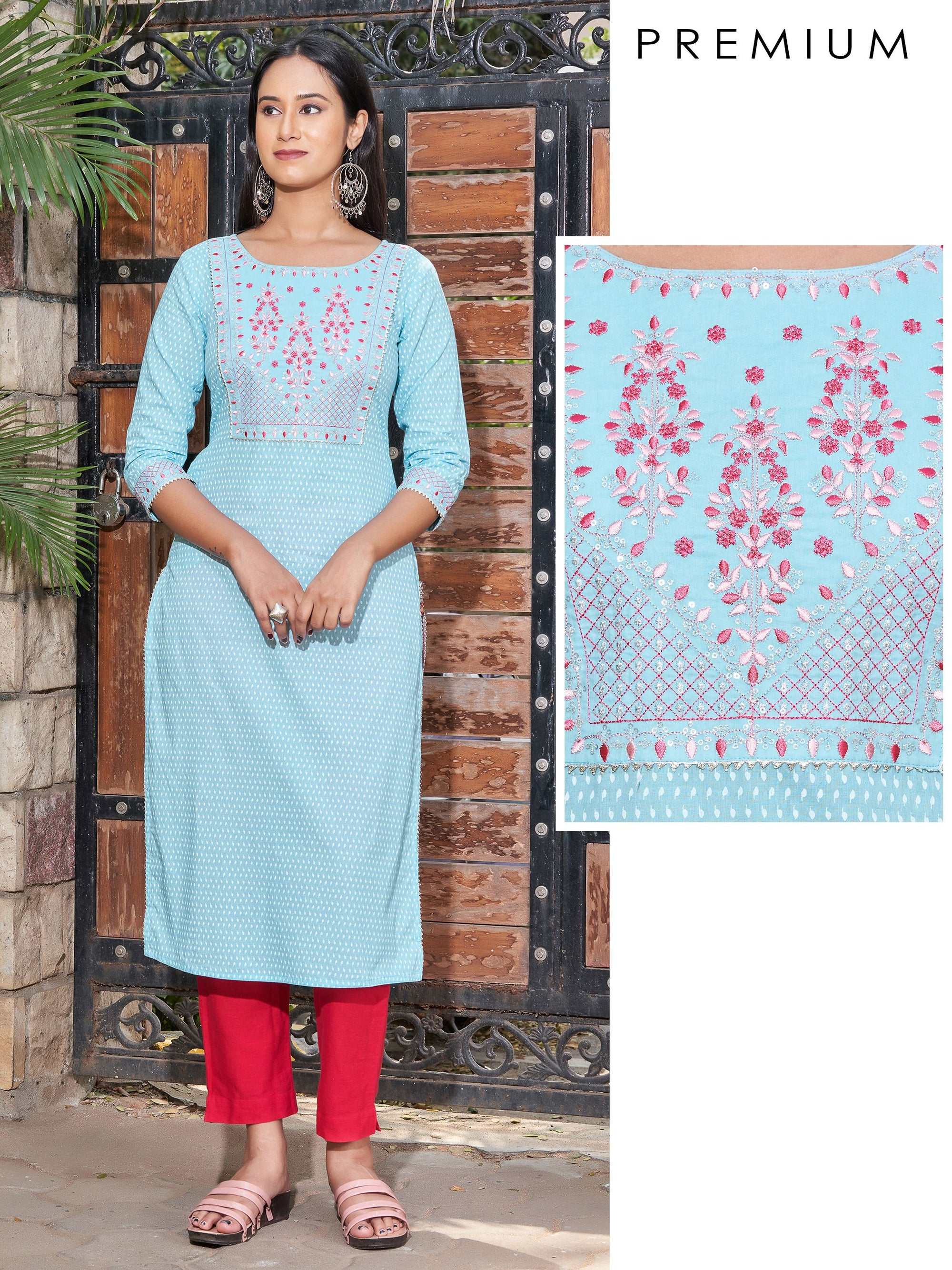 Floral & Zari Embroidered Minimal Leaf Printed Kurti