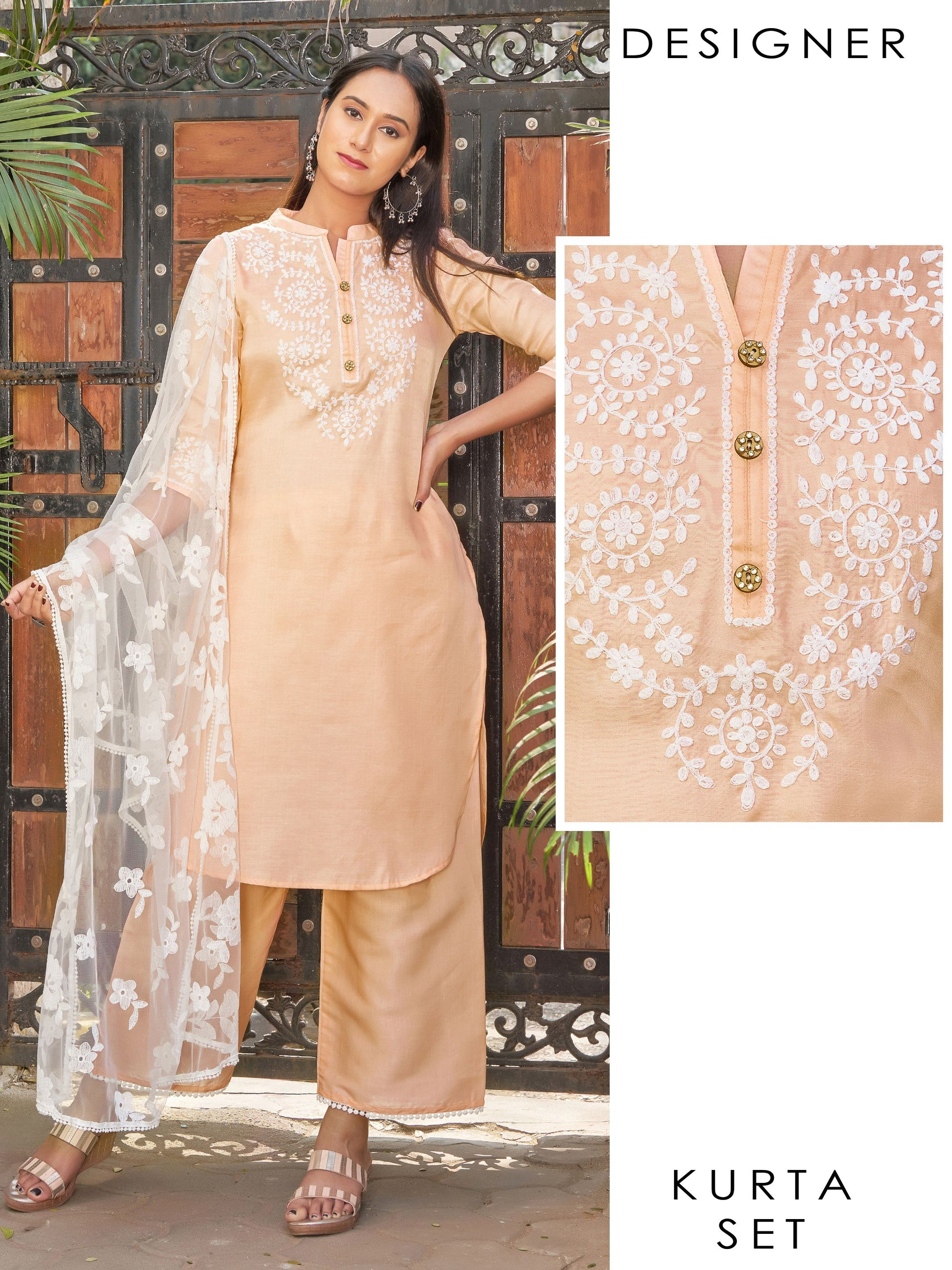 Floral hand embroidered designer kurti, Scalloped Palazzo and  intense embroidered Dupatta set
