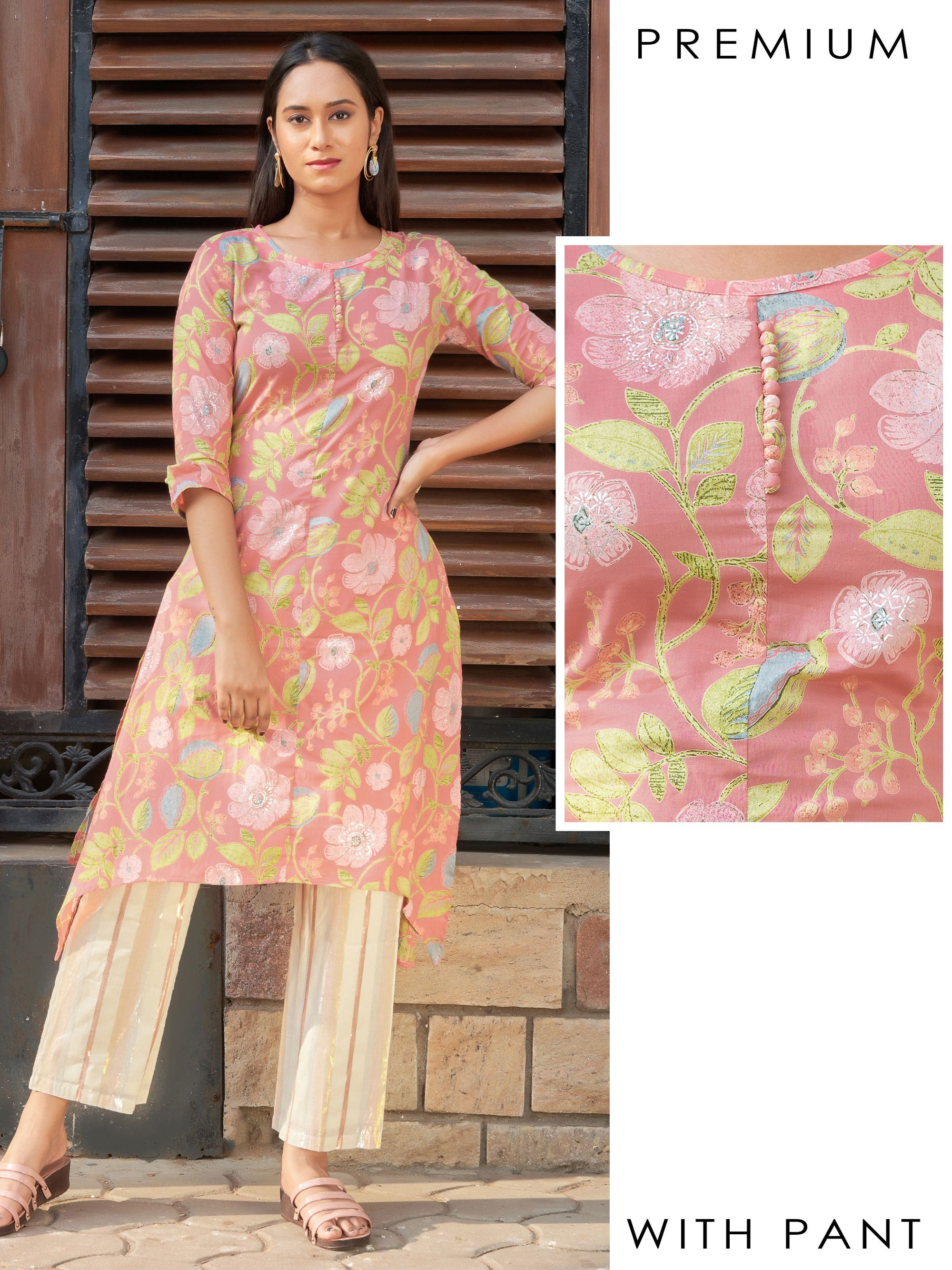 Potli Buttoned Floral Printed Kurti with Rose Gold Striped Pant