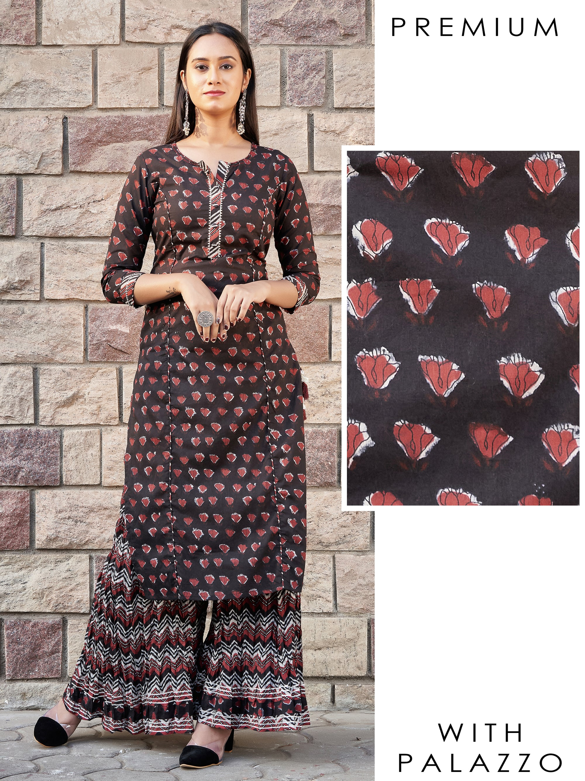 Abstract Floral Printed Temple Gota Kurti & Chevron Printed Crushed Palazzo