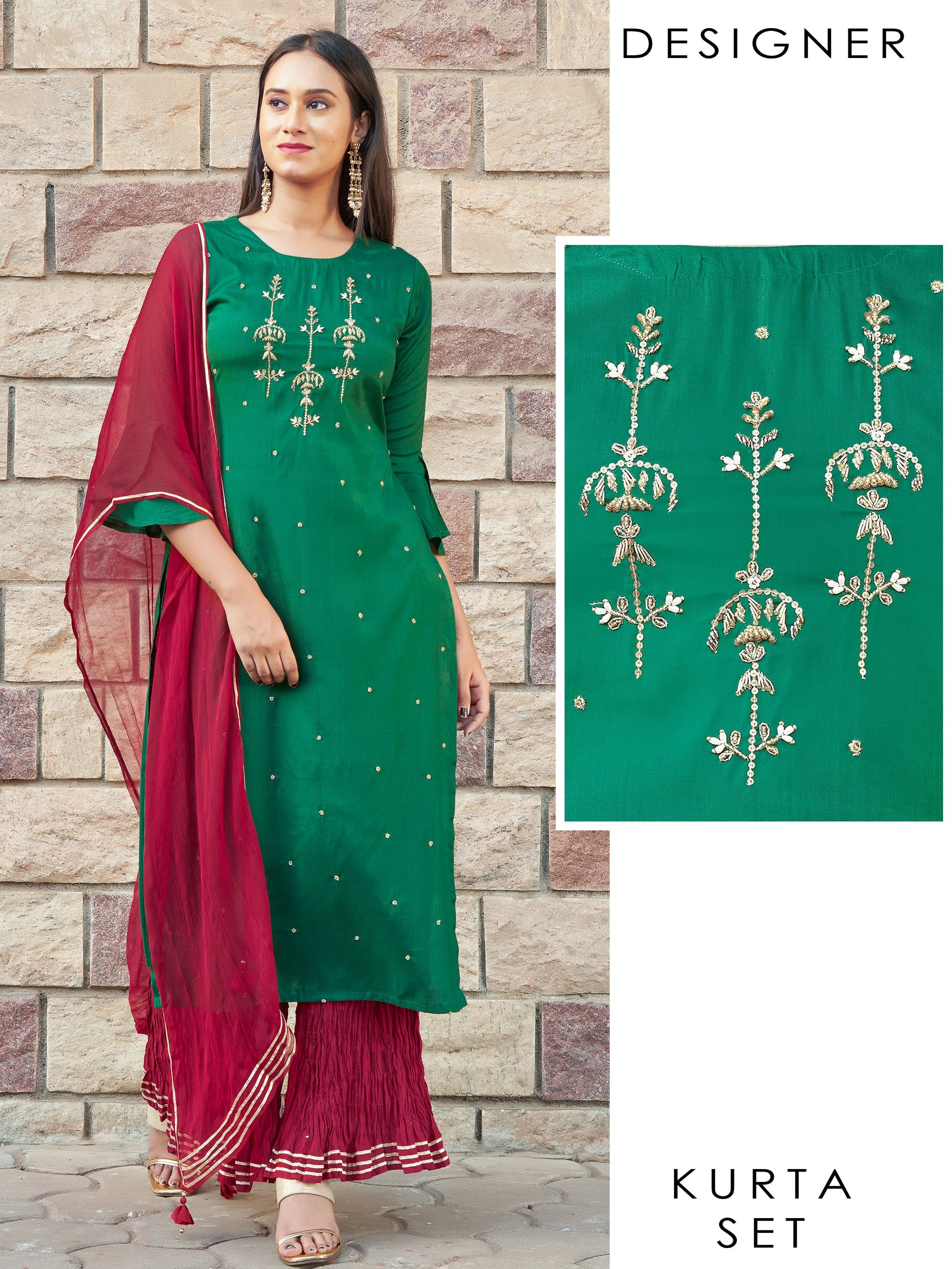 Zardosi, Sequins & Beads Embellished Designer Kurti with Crushed Palazzo & Dupatta